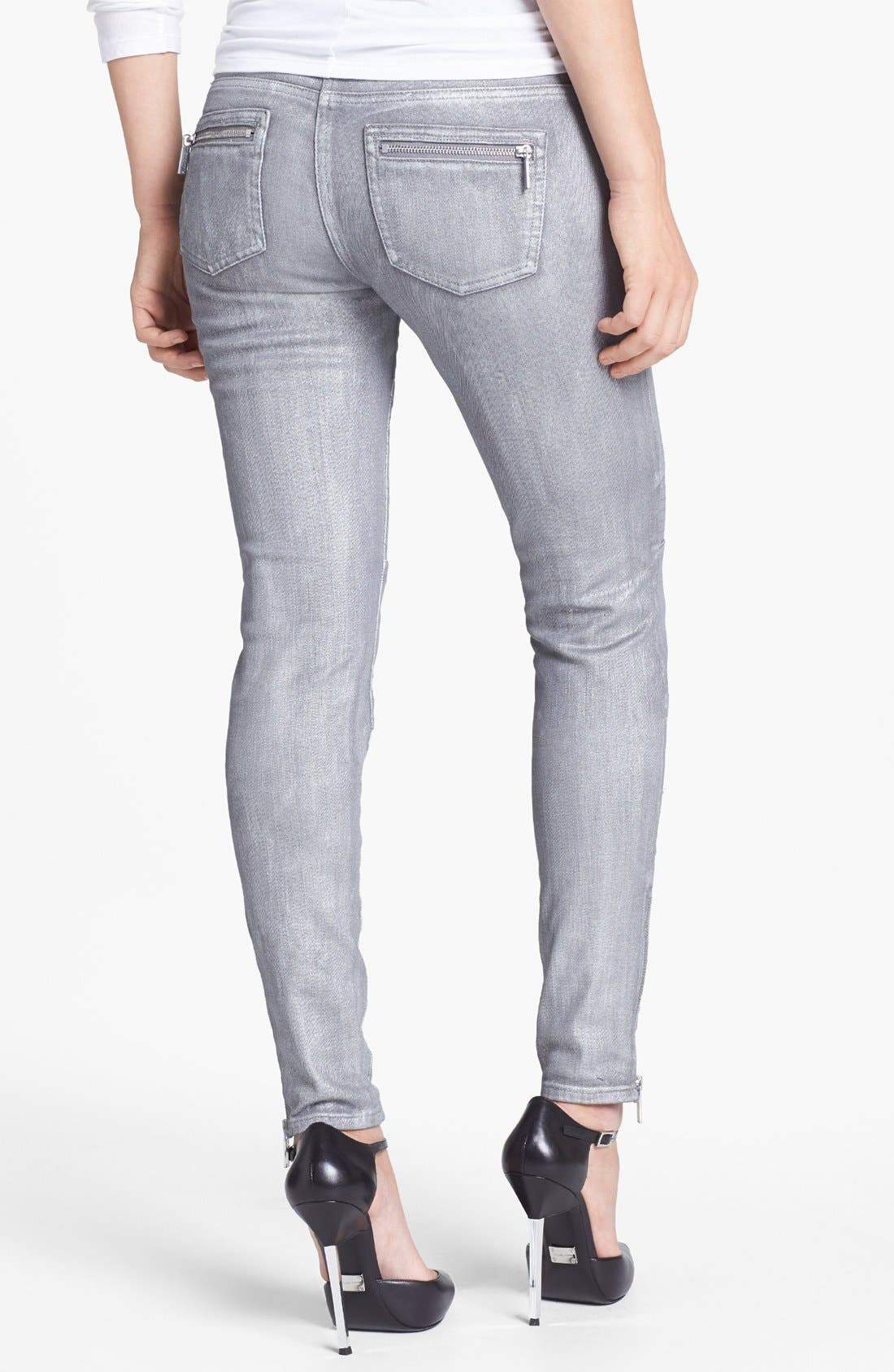 Alternate Image 3  - MICHAEL Michael Jeans Moto Skinny Jeans (Silver)