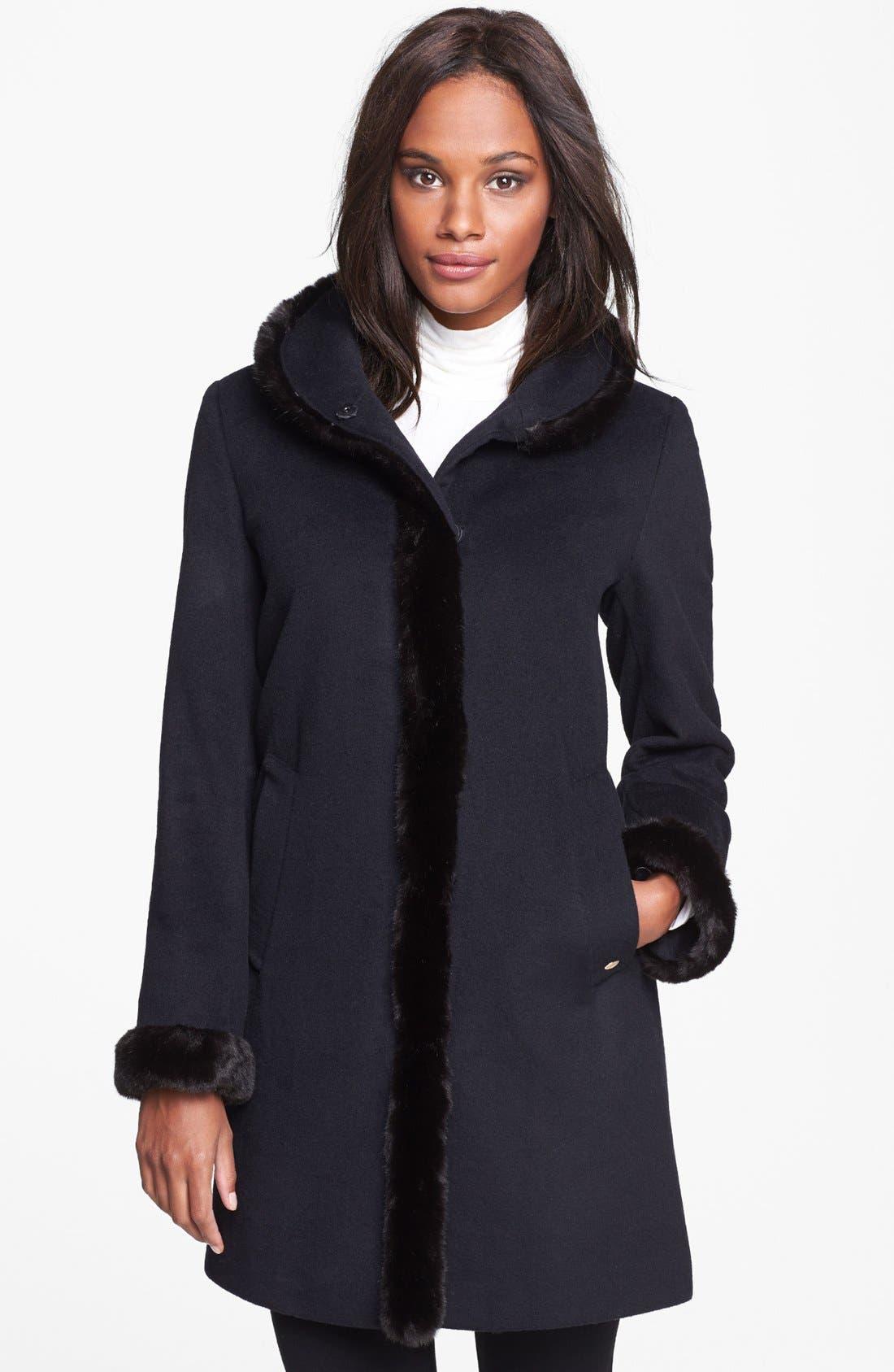 Main Image - Ellen Tracy Faux Fur Trim Wool Blend Coat (Nordstrom Exclusive)