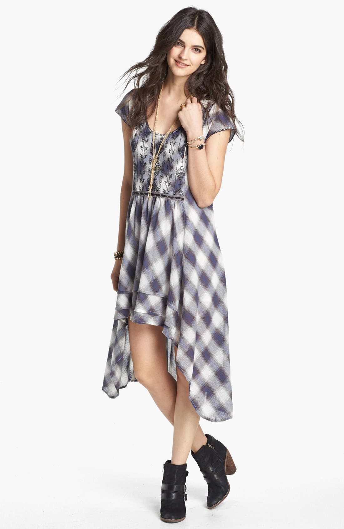 Main Image - Free People 'Rad for Plaid' Cutout High/Low Dress