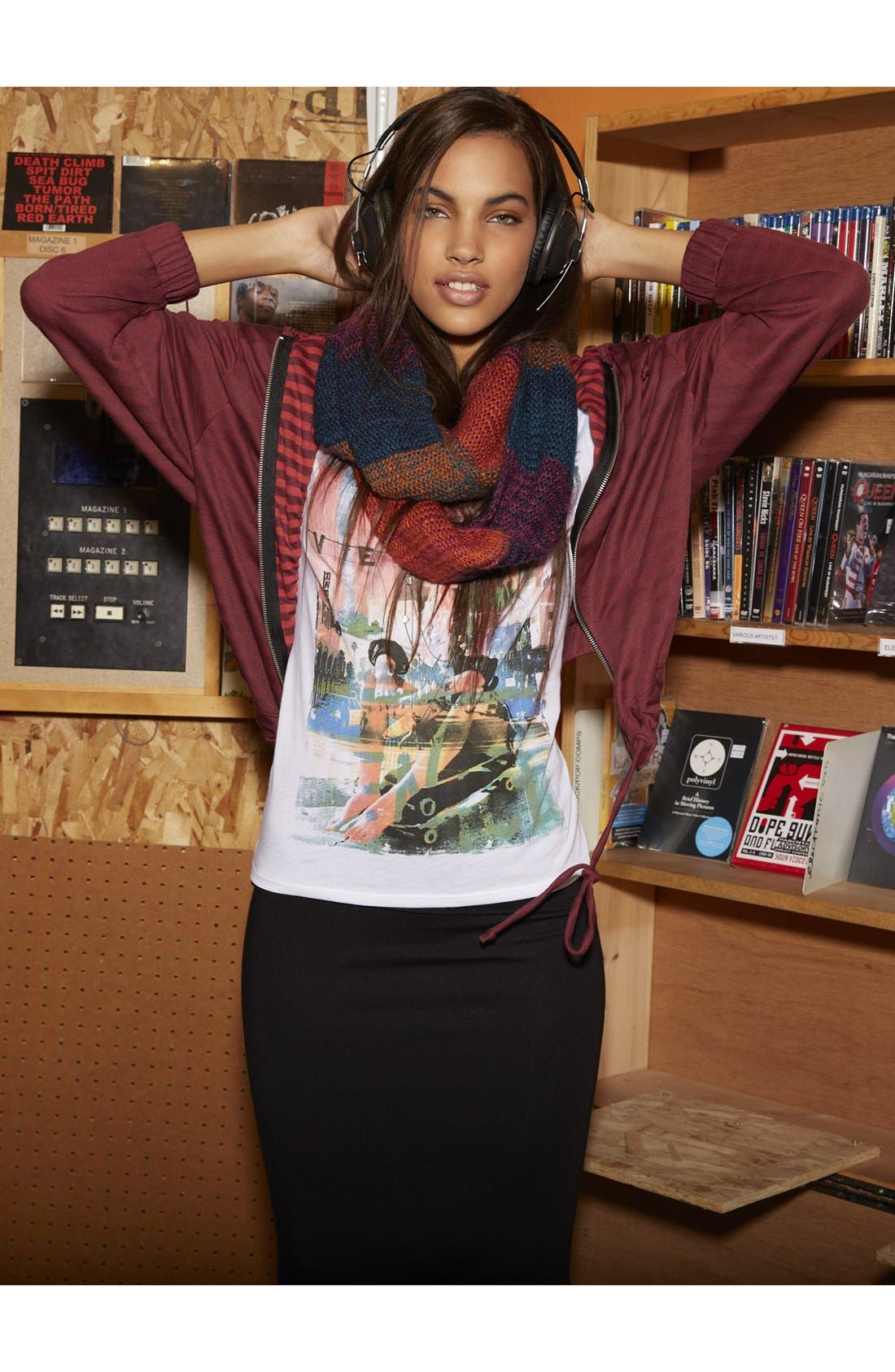 Main Image - Painted Threads Hoodie, Soprano Tee & Frenchi® Skirt