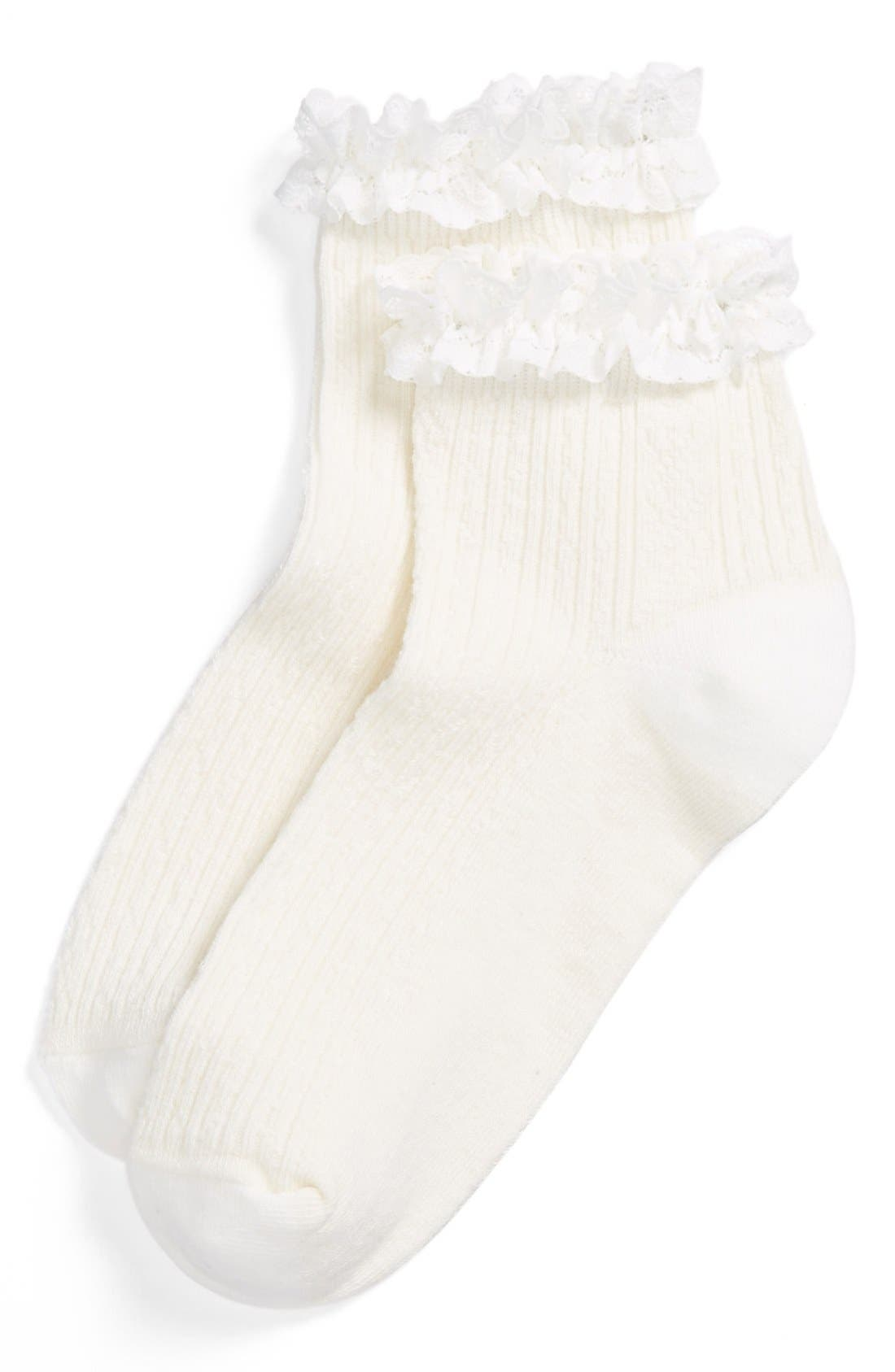 Alternate Image 1 Selected - BP. Tipped Crew Socks (Juniors)