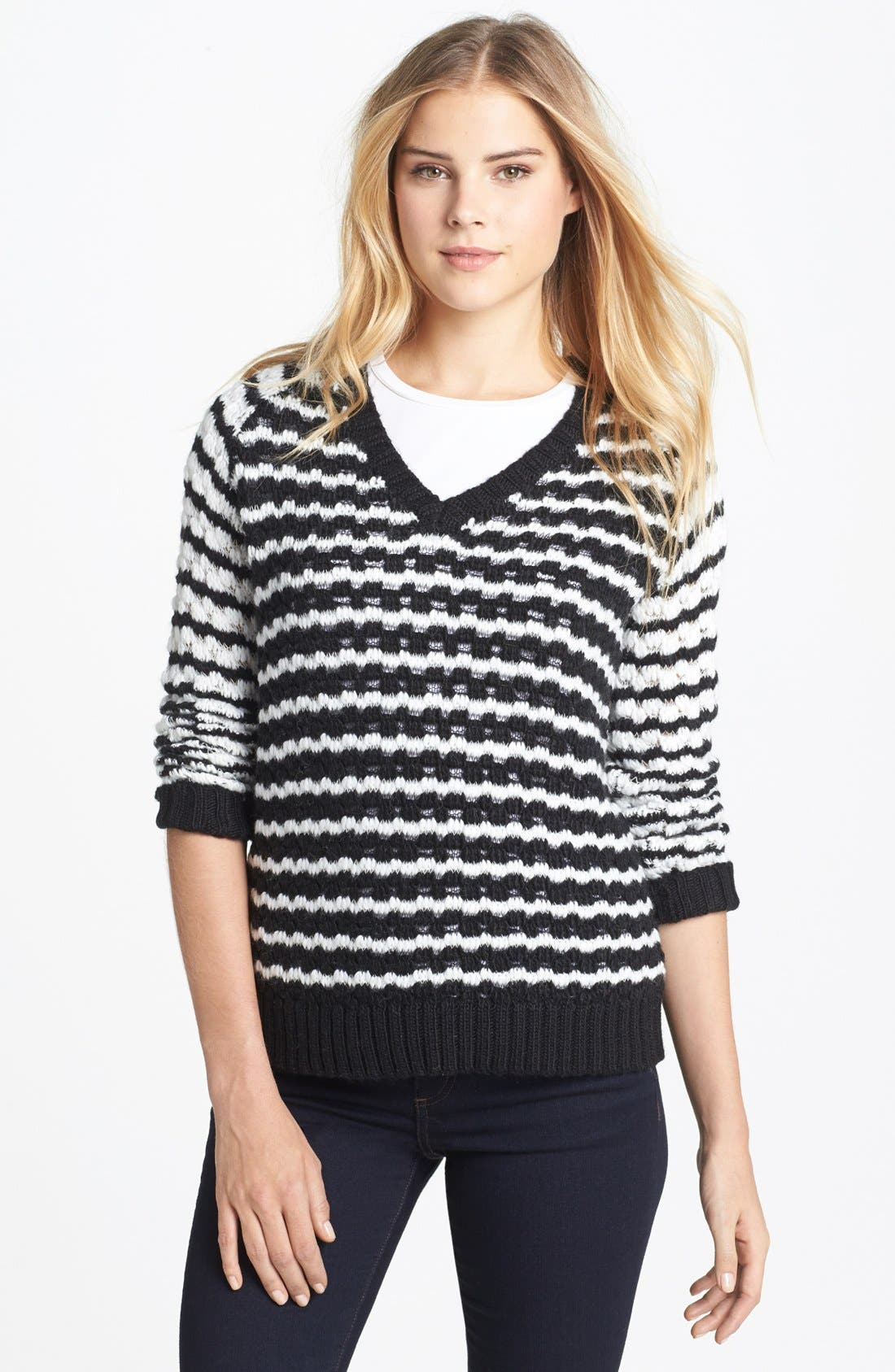 Alternate Image 1 Selected - Two by Vince Camuto Bubble Stitch Stripe V-Neck Sweater