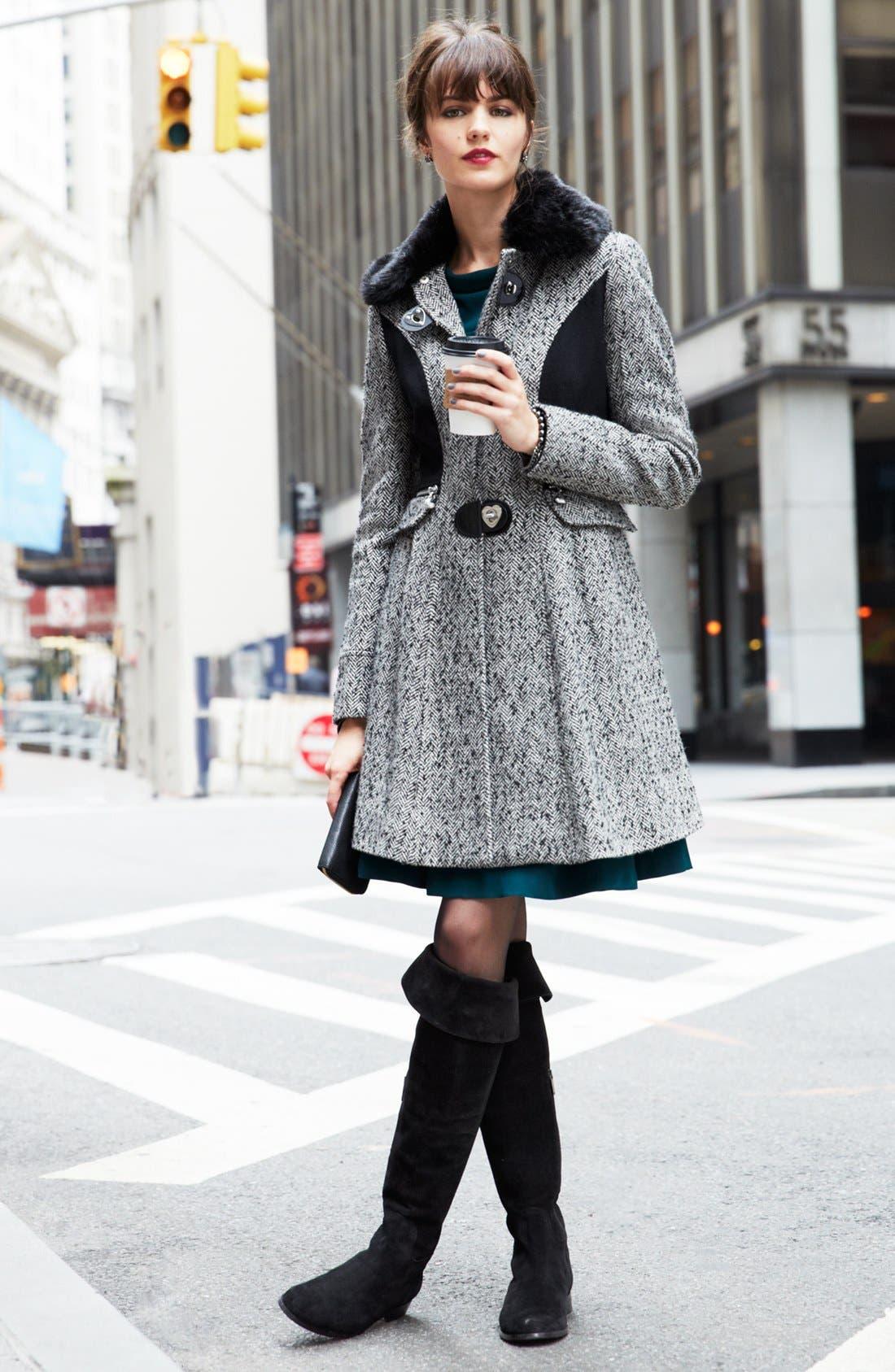 Alternate Image 2  - Betsey Johnson Faux Fur Collar Tweed Coat