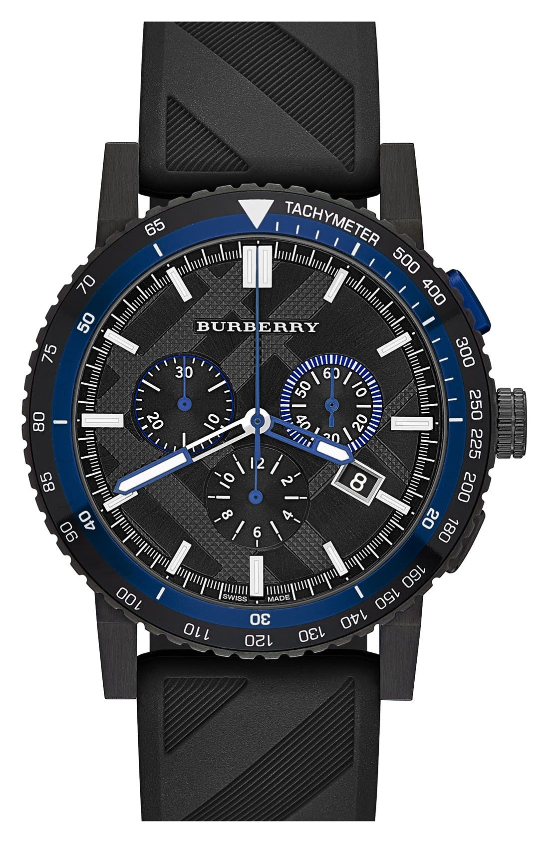 Alternate Image 1 Selected - Burberry Chronograph Rubber Strap Watch, 42mm