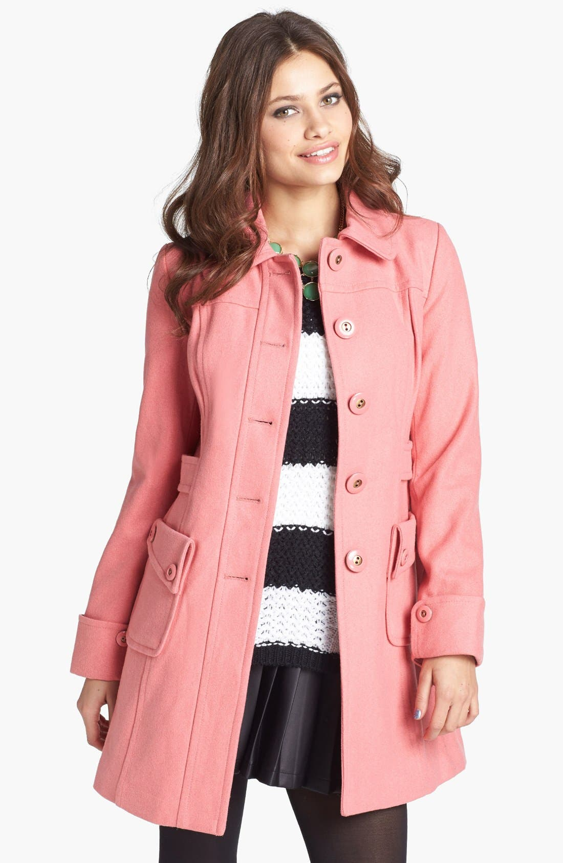 Main Image - Tulle Button Detail Wool Coat (Juniors)