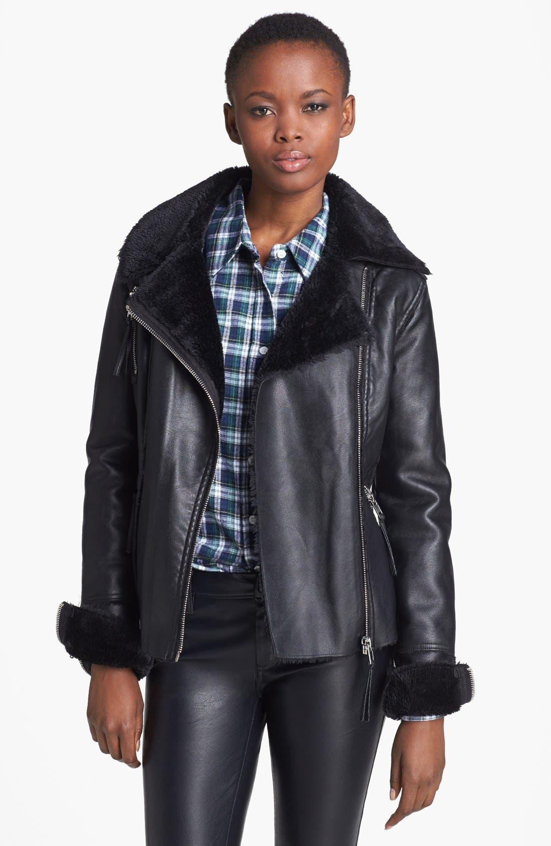 Main Image - BLANKNYC 'Black Light' Faux Shearling Lined Faux Leather Jacket