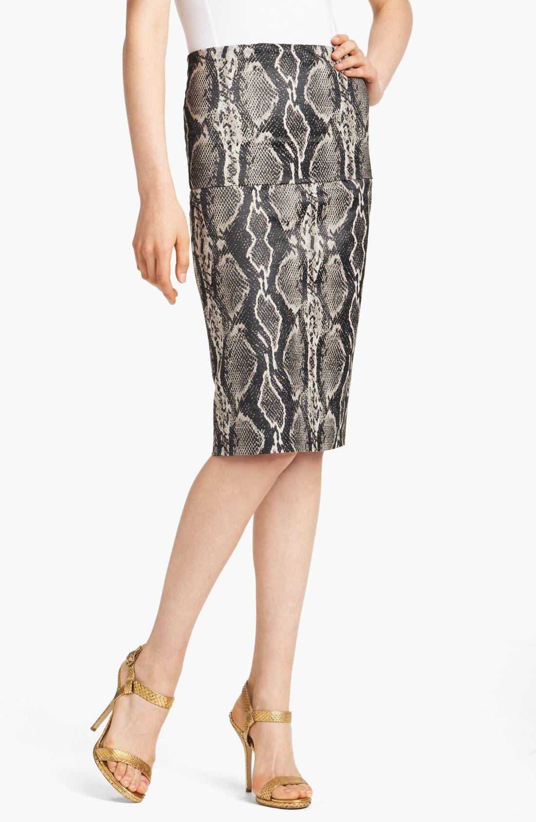 Main Image - Donna Karan Collection Snake Jacquard Midi Skirt