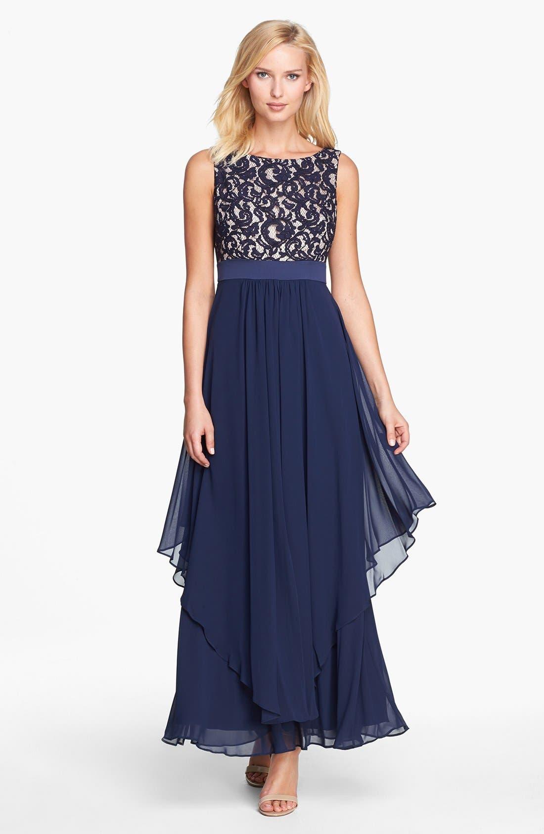 Alternate Image 1 Selected - Eliza J Lace & Chiffon Gown