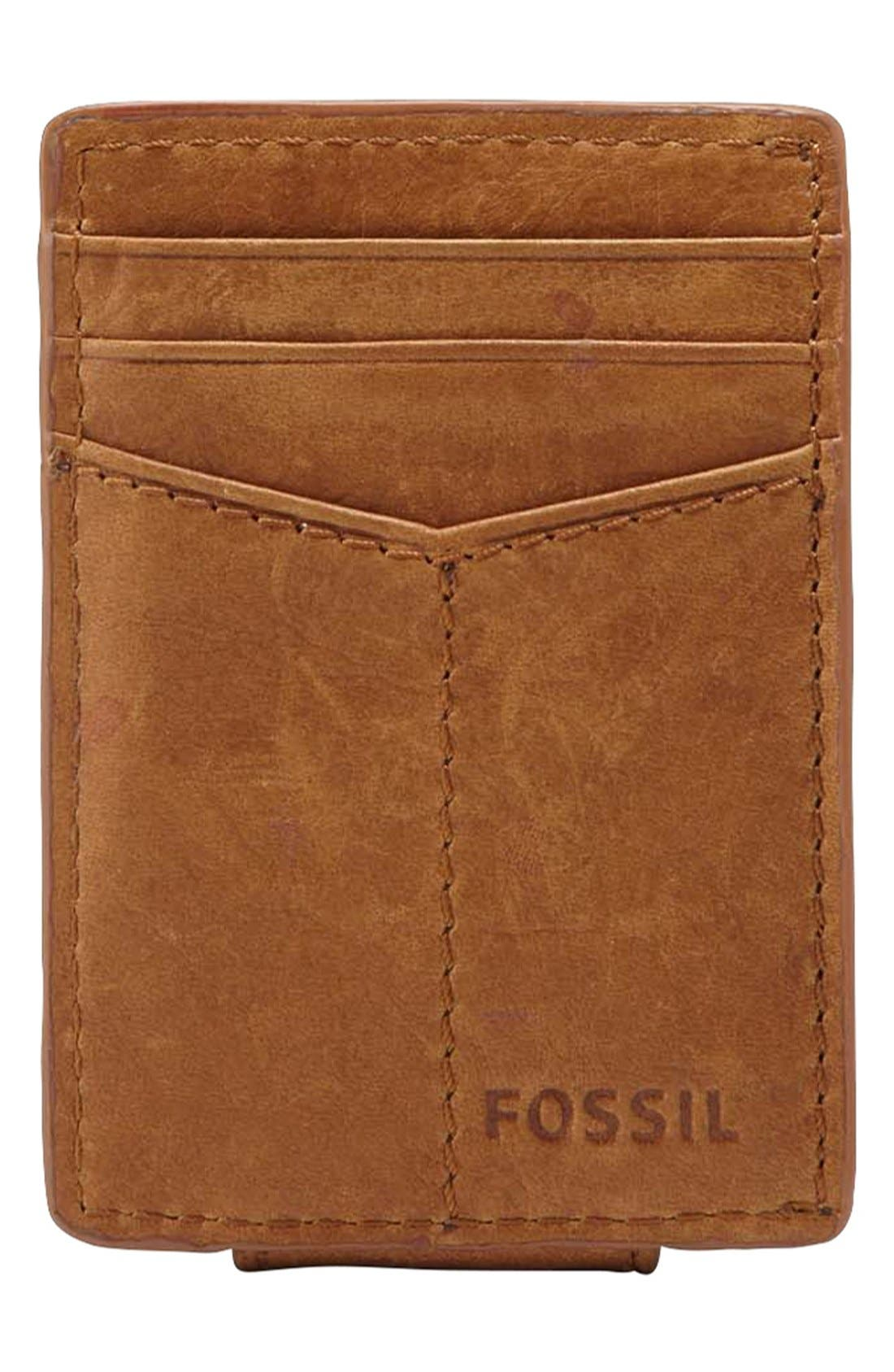 Alternate Image 2  - Fossil 'Ingram' Leather Magnetic Money Clip Card Case