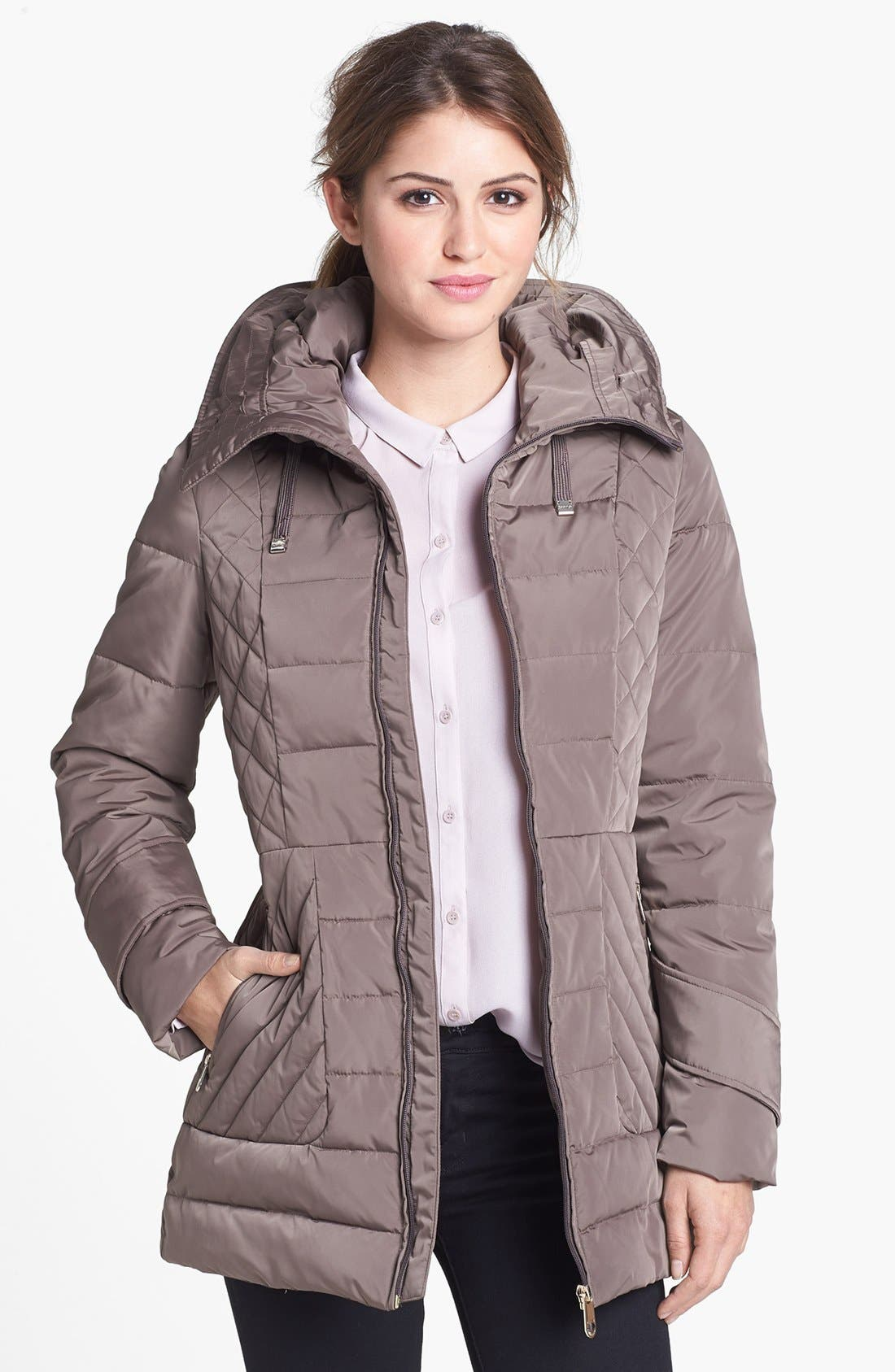 Alternate Image 4  - Calvin Klein Faux Fur Trim Quilted Jacket