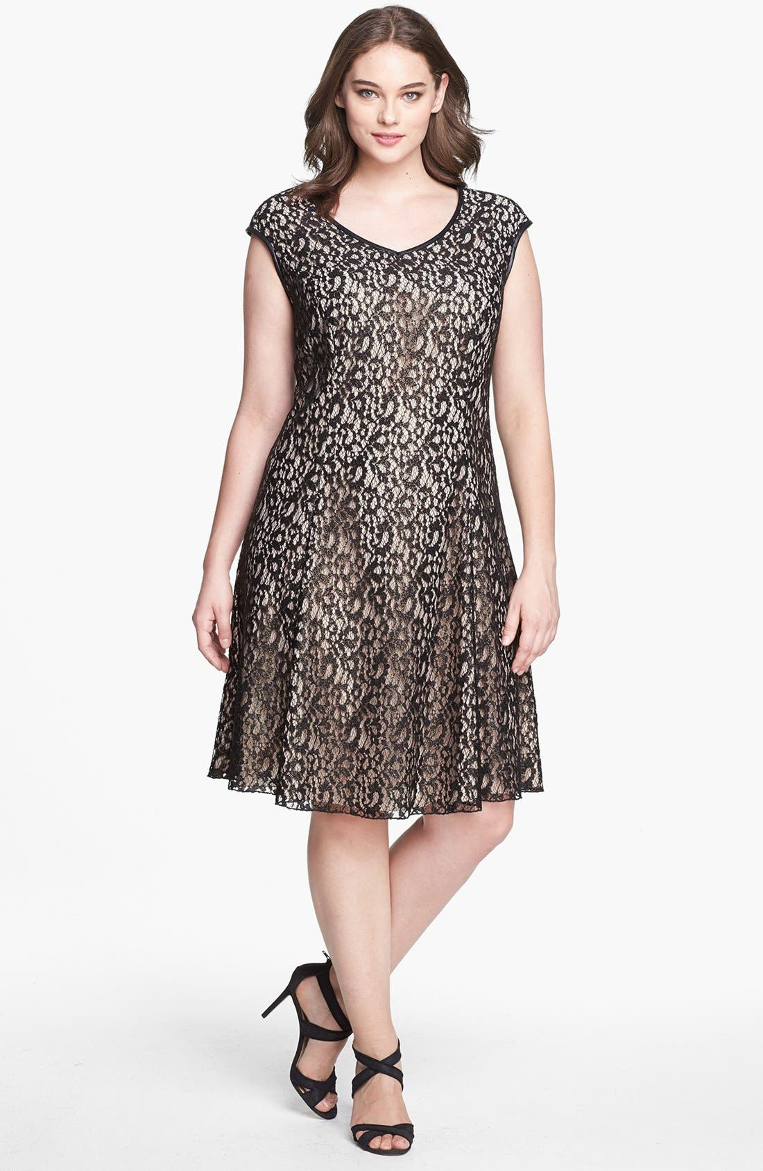 Main Image - ABS by Allen Schwartz Foiled Lace Fit & Flare Dress (Plus Size)