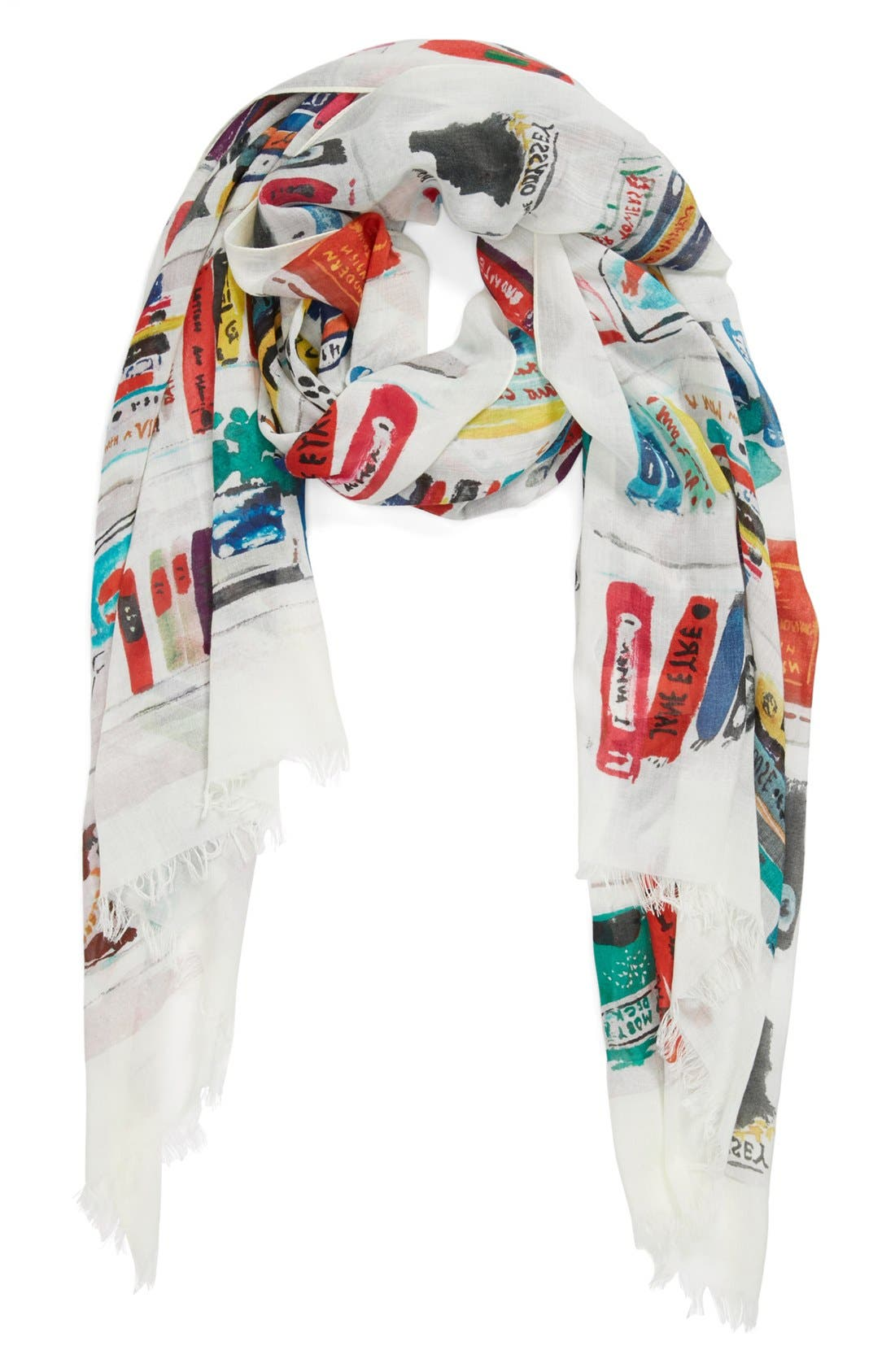 Main Image - kate spade new york 'library illustration' scarf