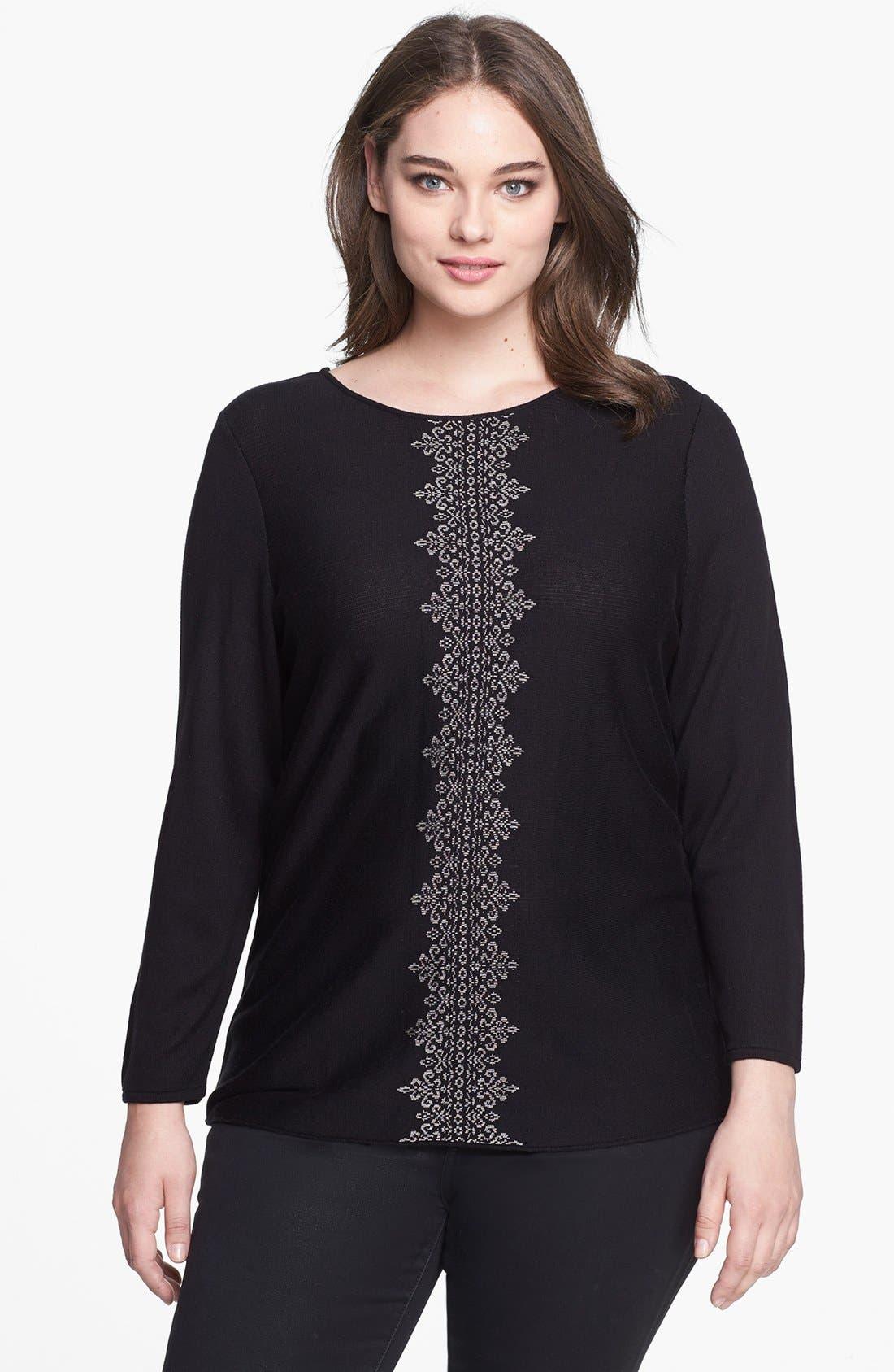 Alternate Image 1 Selected - NIC+ZOE Back Drape Sweater (Plus Size)