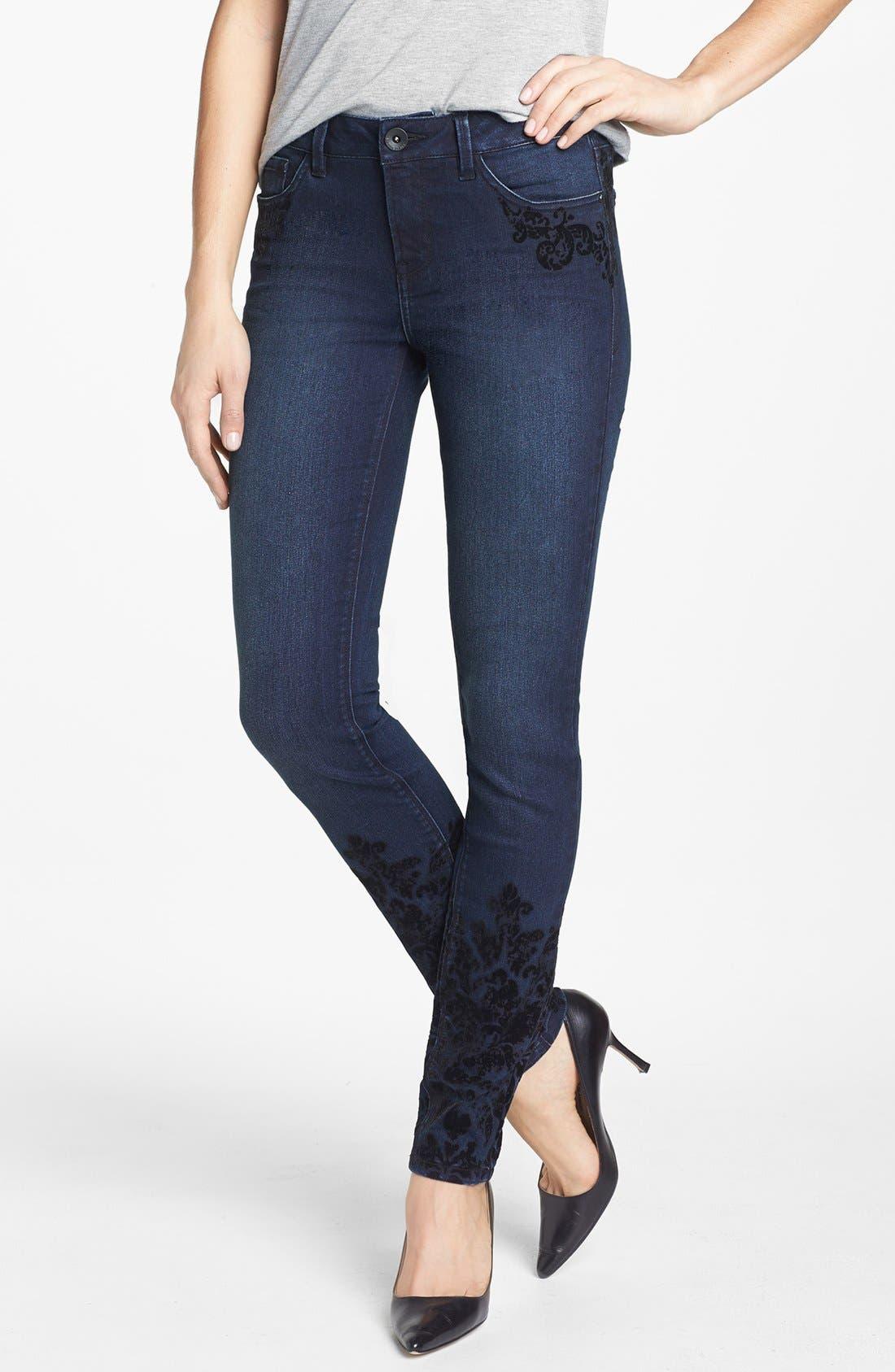 Main Image - kensie 'Ankle Biter' Flocked Skinny Jeans (Midnight)