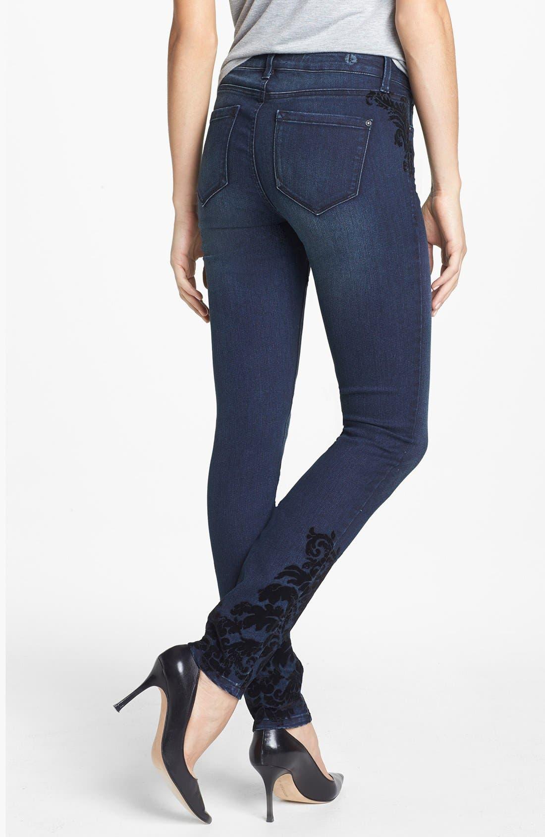 Alternate Image 2  - kensie 'Ankle Biter' Flocked Skinny Jeans (Midnight)