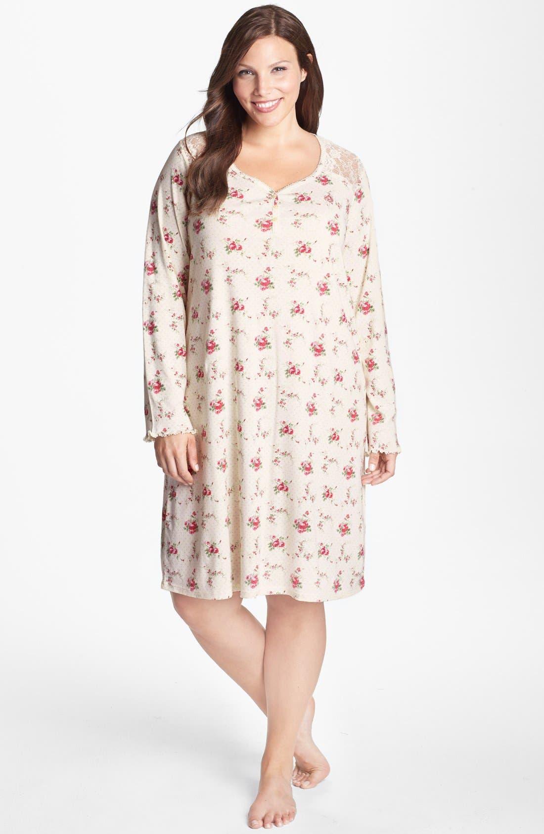 Alternate Image 1 Selected - Lauren Ralph Lauren Lace Trim Sleep Shirt (Plus Size)