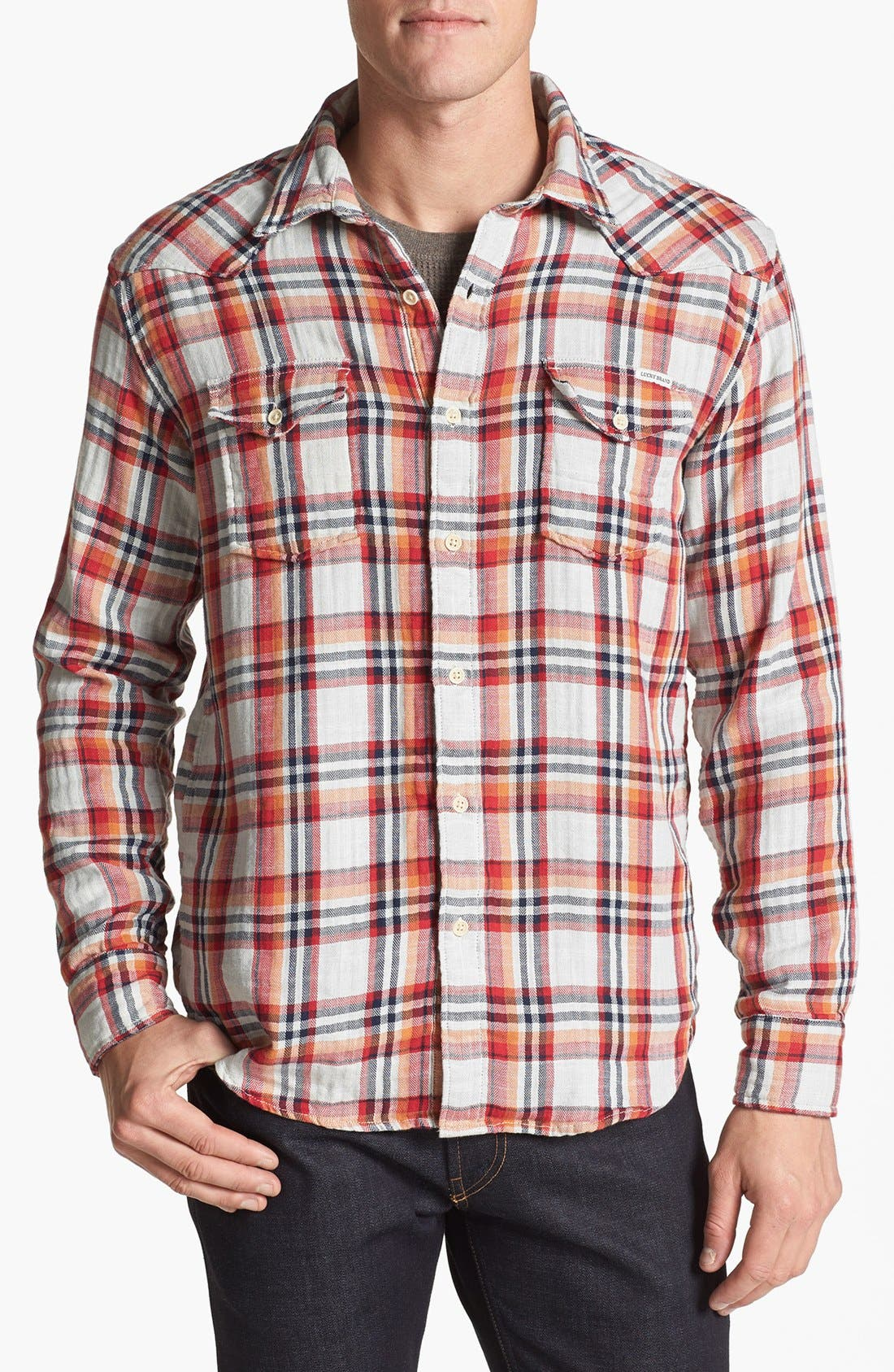 Alternate Image 1 Selected - Lucky Brand 'Owls Head' Plaid Western Shirt