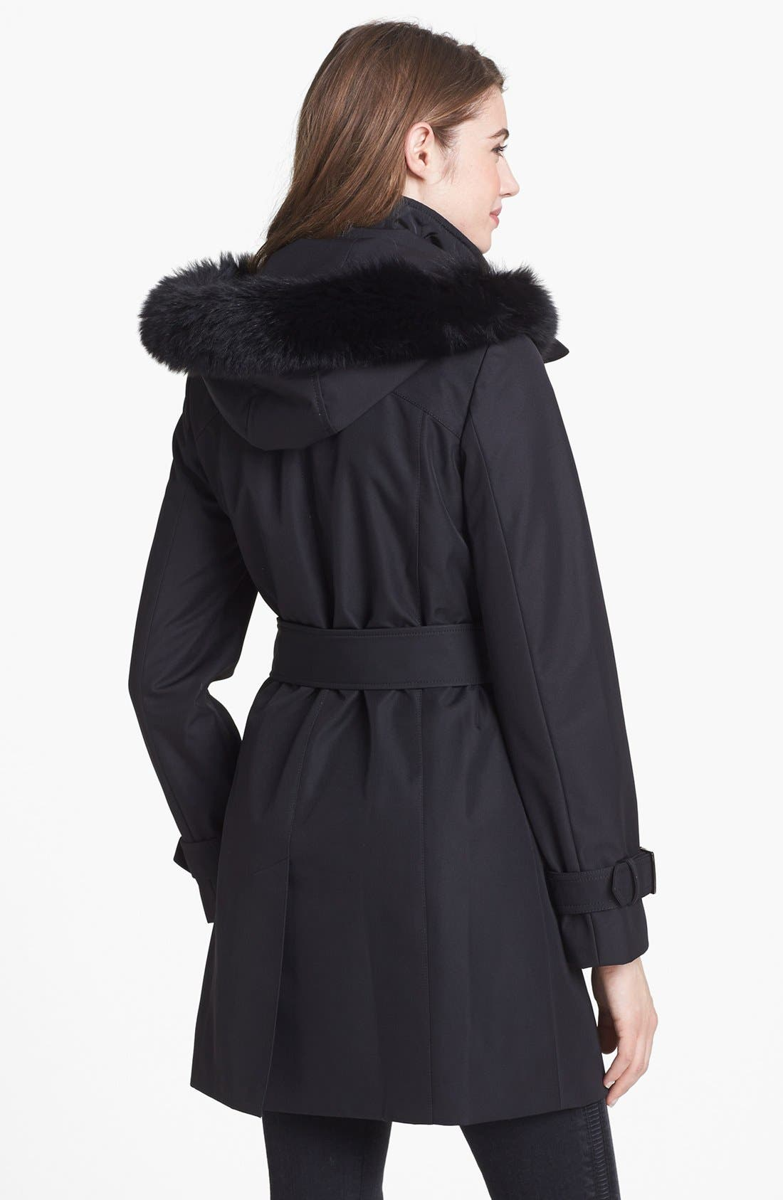Alternate Image 2  - Collection Ellen Tracy Genuine Fox Fur Trim Belted Raincoat (Nordstrom Exclusive)
