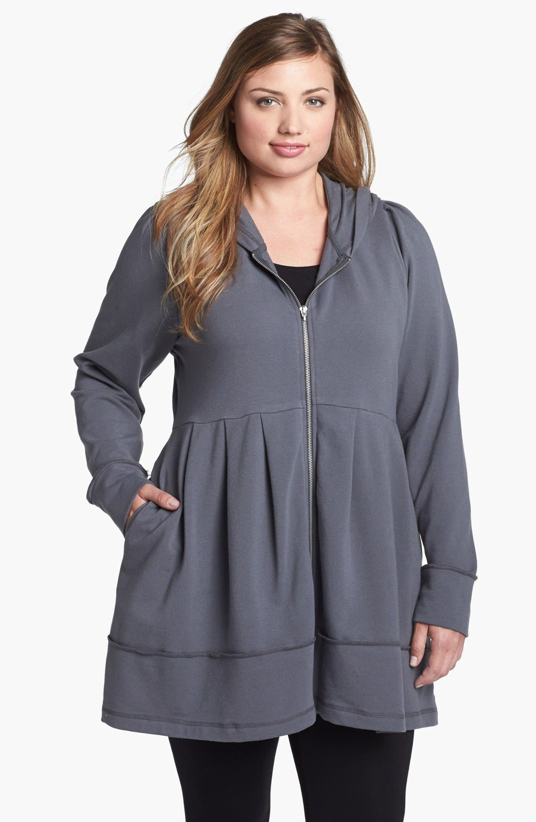 Alternate Image 1 Selected - Pink Lotus Pleated Tunic Hoodie (Plus Size)