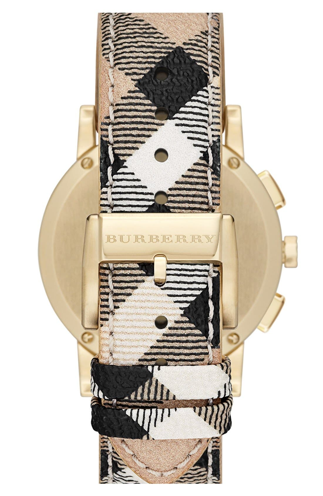Alternate Image 2  - Burberry Round Chronograph Leather Strap Watch, 38mm