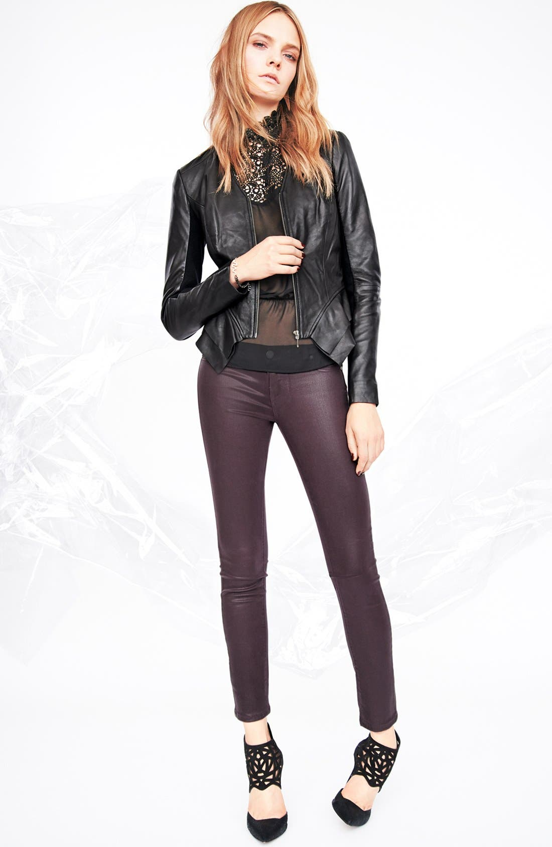 Alternate Image 2  - Hinge Leather Peplum Jacket