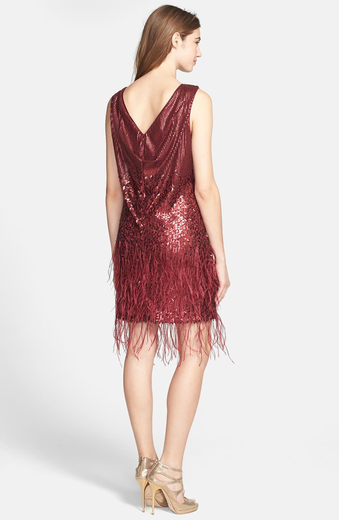 Alternate Image 2  - Jessica Simpson Sequin & Feather Detail Shift Dress