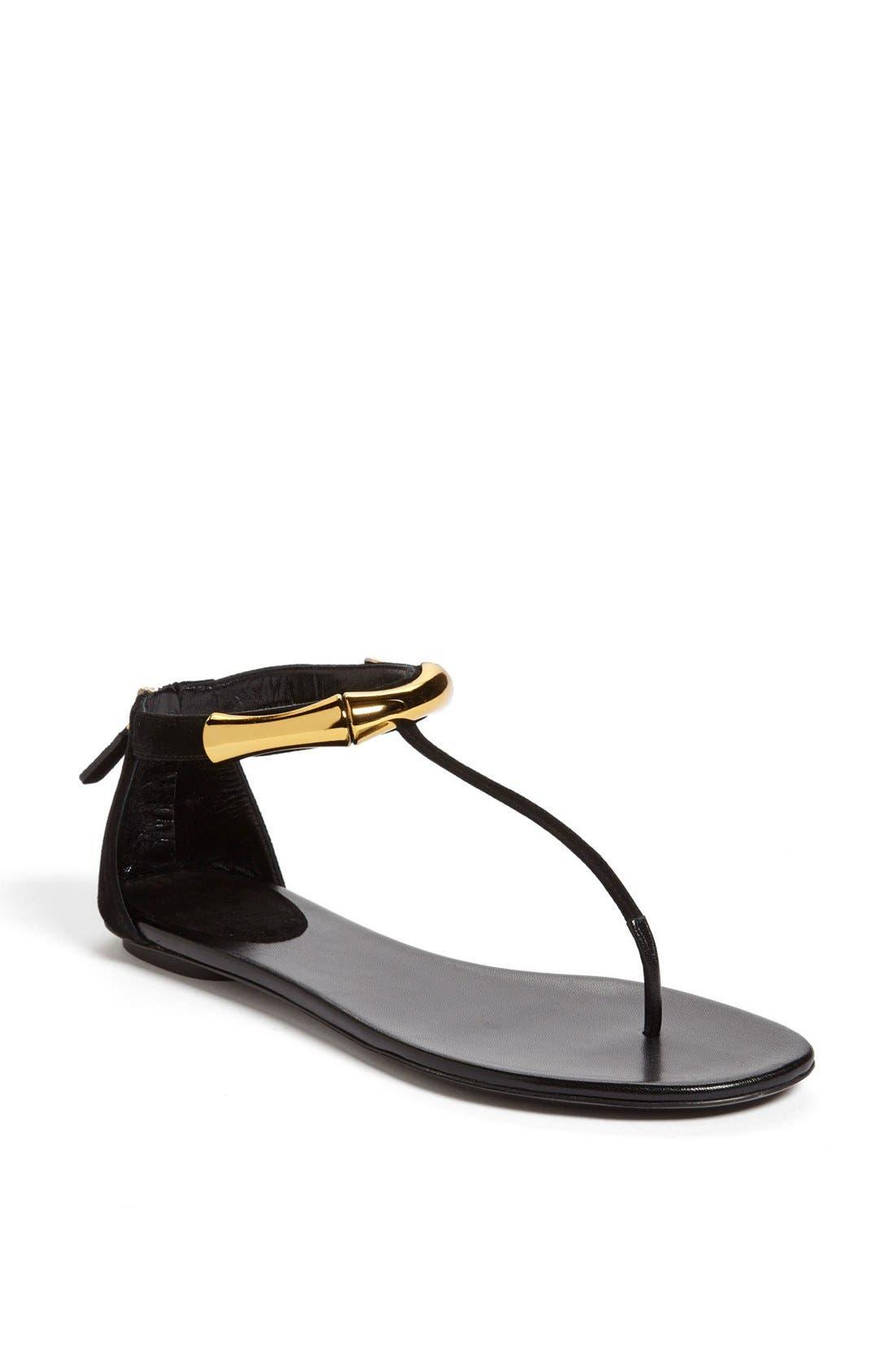 Alternate Image 1 Selected - Gucci 'Coraline' Metal T-Strap Sandal