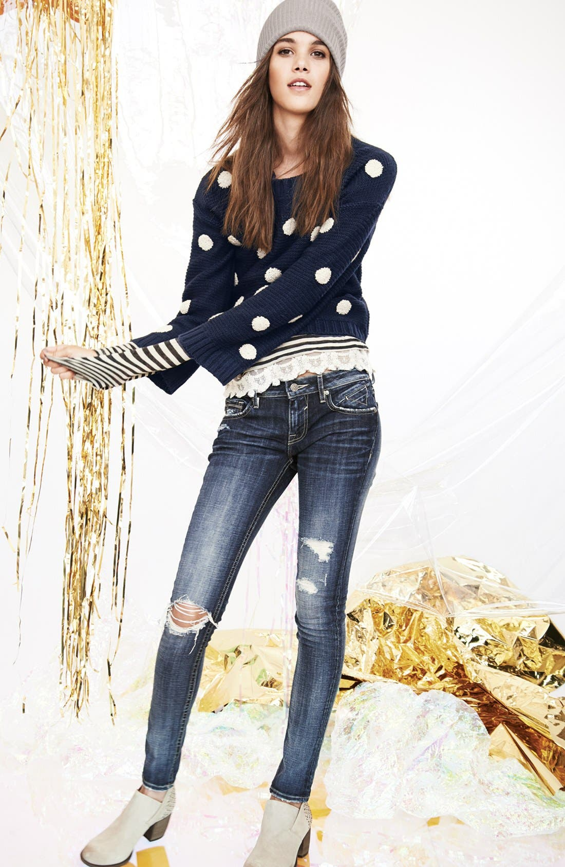 Alternate Image 4  - Elodie Embroidered Dot Sweater (Juniors)