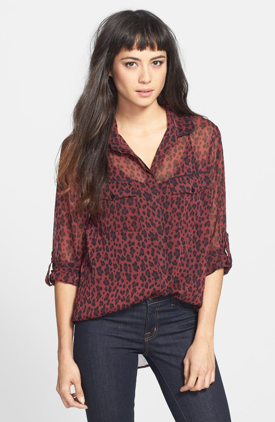 Alternate Image 1 Selected - Sanctuary 'New Camp' Leopard Print Chiffon Blouse