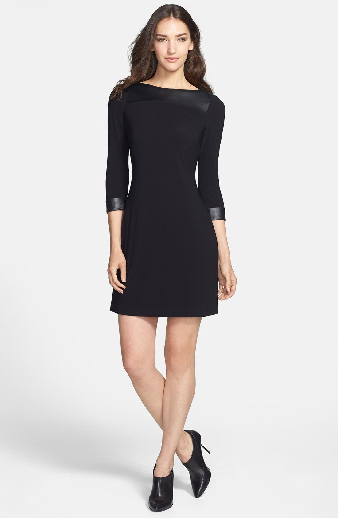 Main Image - Marc New York by Andrew Marc Faux Leather Trim Crepe Shift Dress
