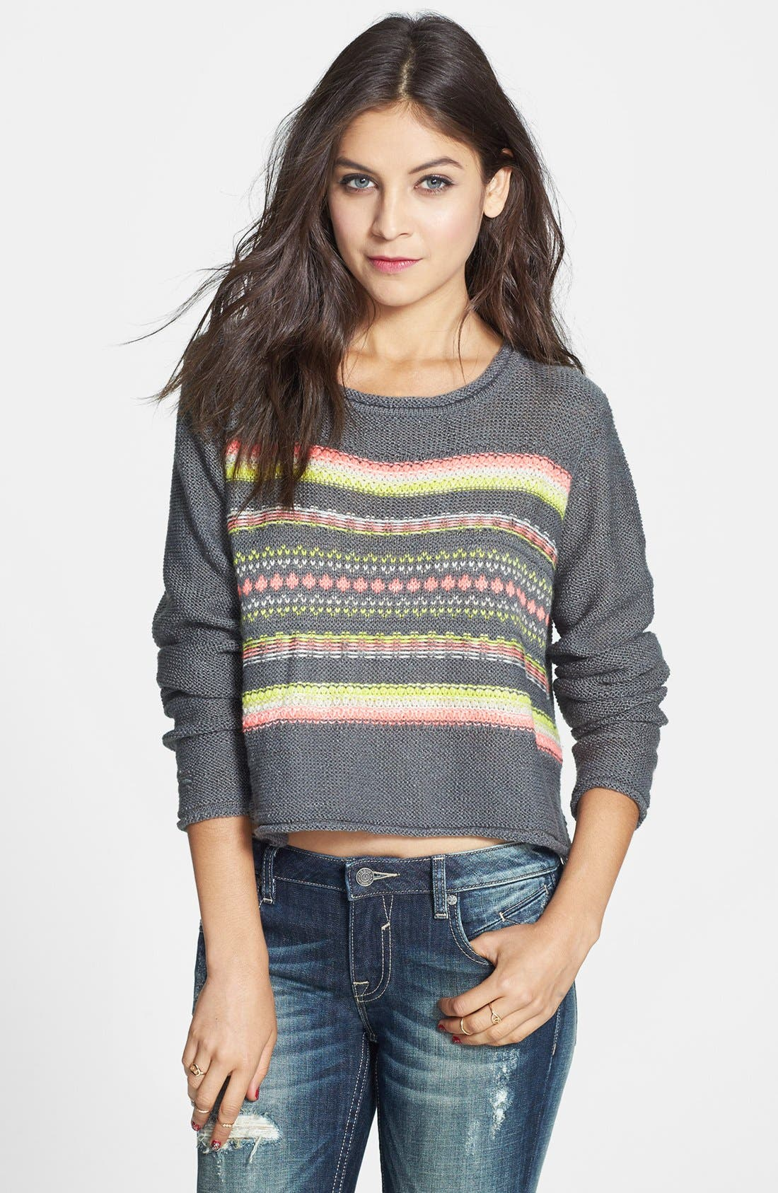 Main Image - Love on a Hanger Pattern Crop Pullover (Juniors)