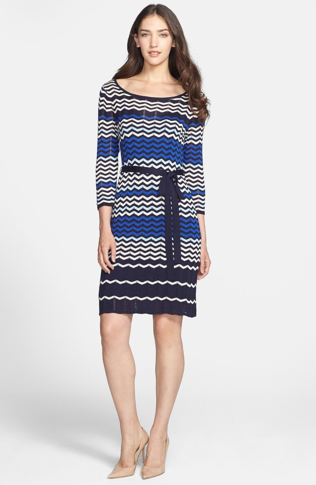Alternate Image 2  - Taylor Dresses Zigzag Knit Sweater Dress