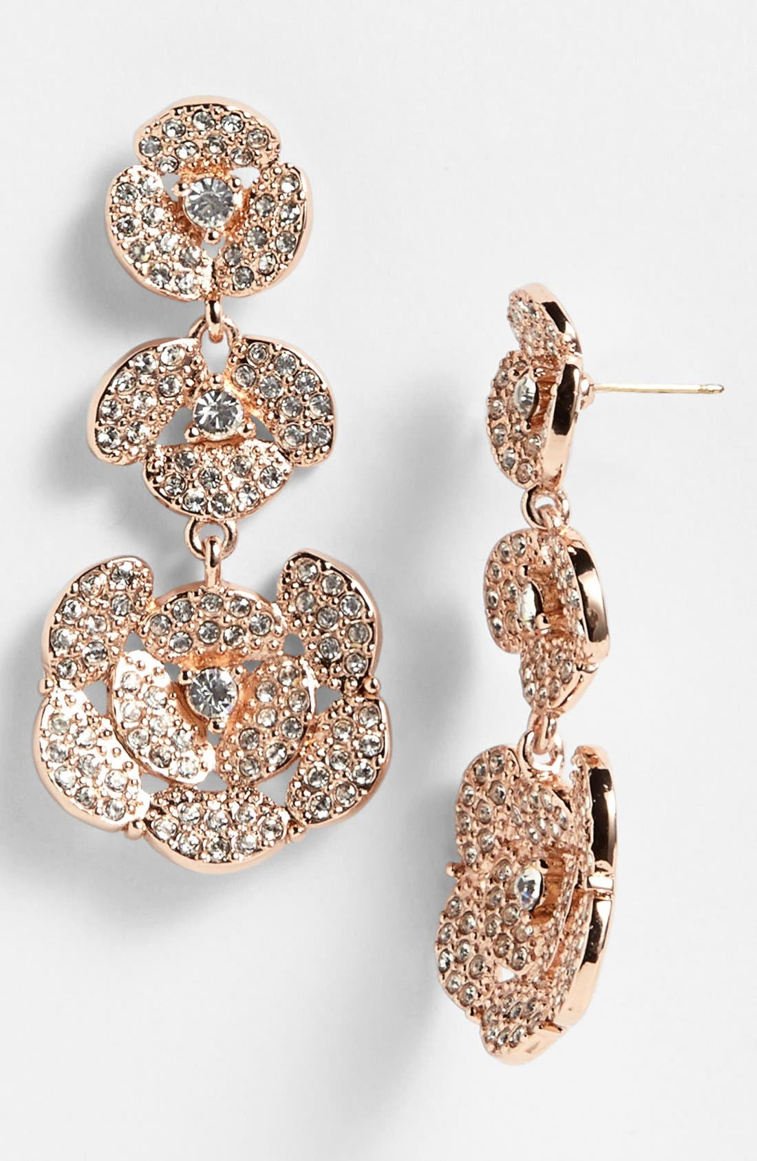Main Image - kate spade new york 'disco pansy' pavé flower linear drop earrings