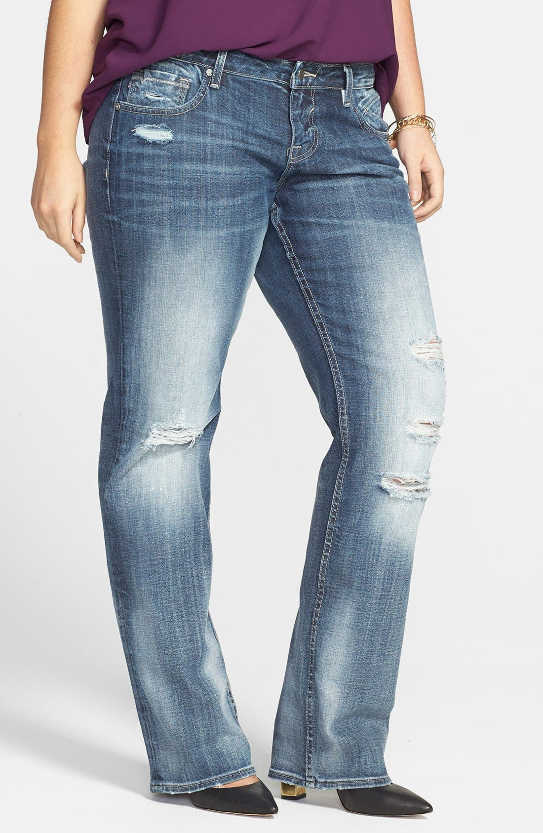 Main Image - Vigoss Destroyed Straight Jeans (Juniors Plus)
