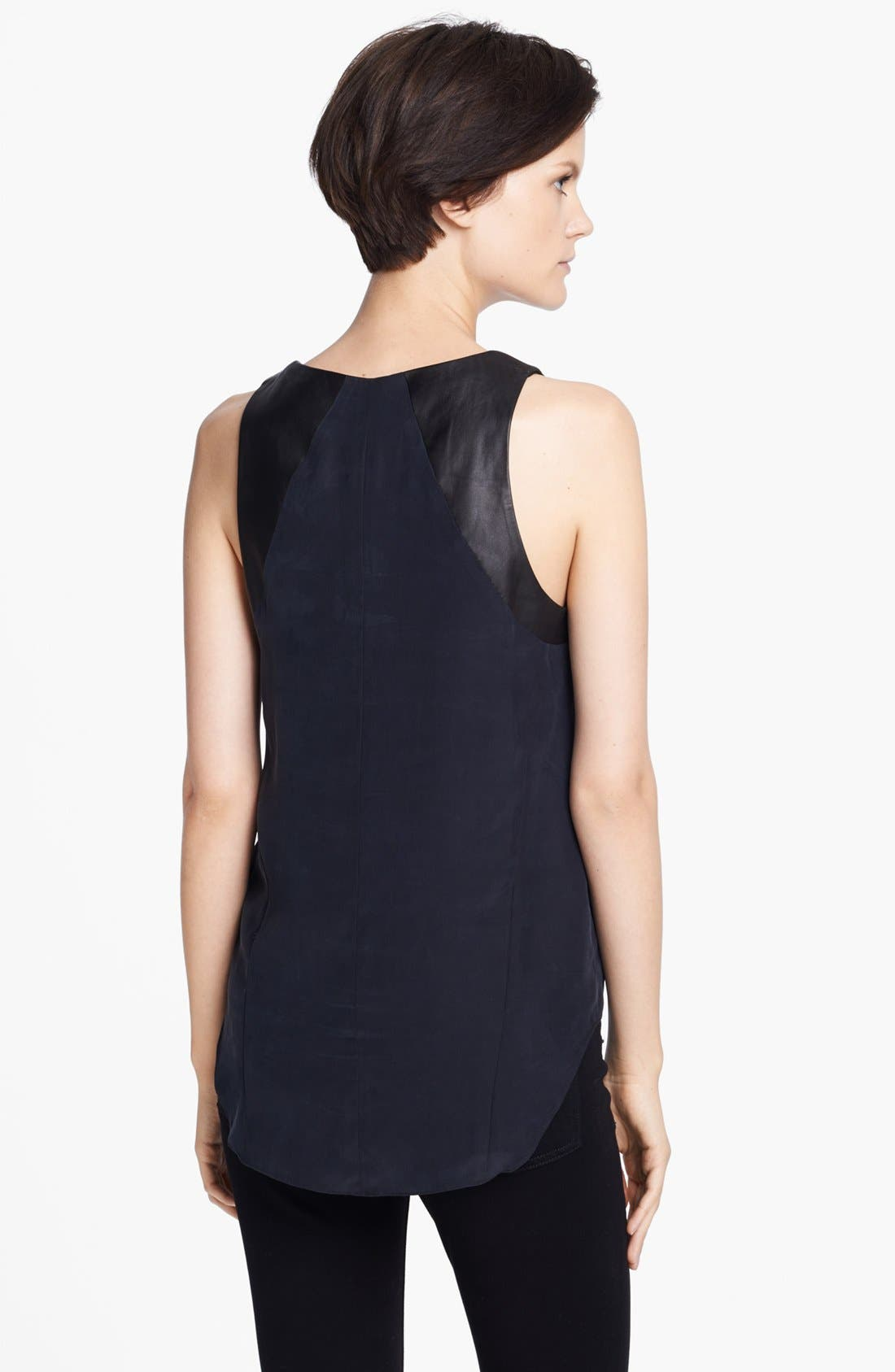 Alternate Image 2  - rag & bone 'Jade' Leather Trim Silk Tank (Nordstrom Exclusive)