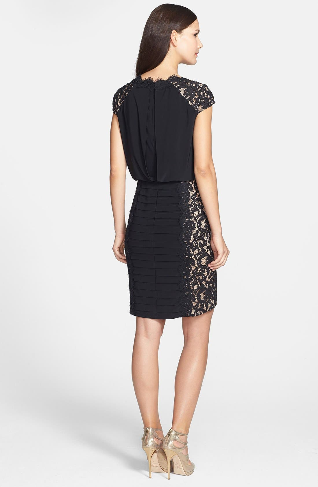 Alternate Image 3  - Adrianna Papell Lace Panel Banded Blouson Jersey Dress