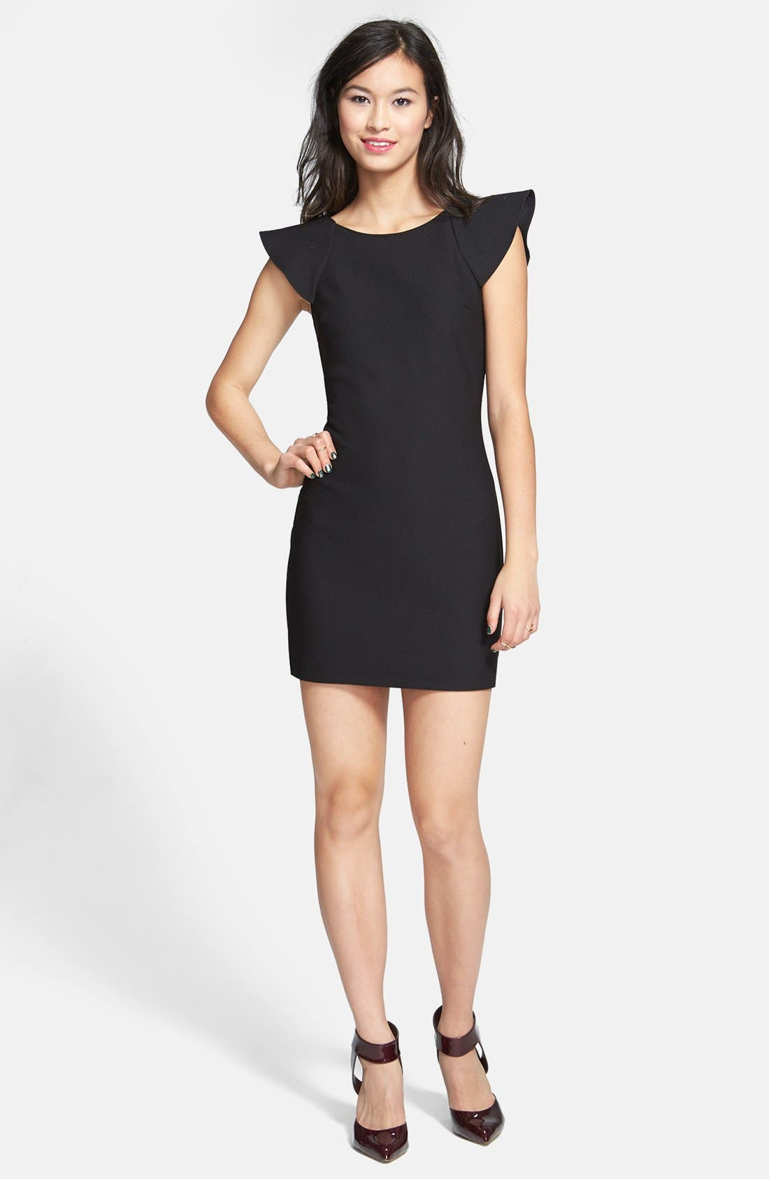 Alternate Image 1 Selected - Trixxi Ruffle Back Body-Con Dress (Juniors) (Online Only)