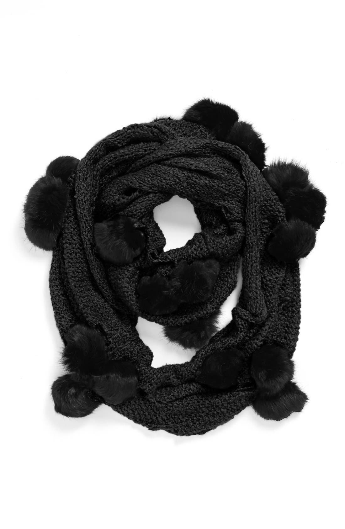 Main Image - La Fiorentina Genuine Rabbit Fur Pompom Eternity Scarf
