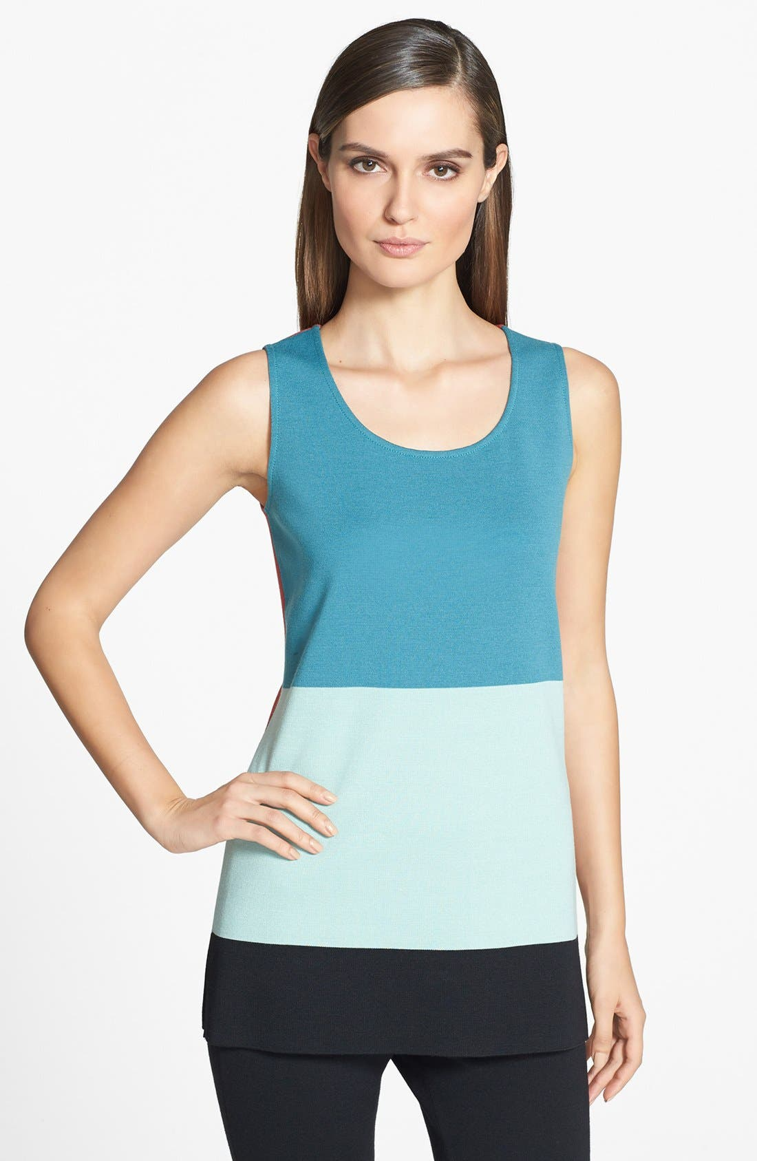 Main Image - St. John Collection Colorblock Milano Knit Sleeveless Tunic