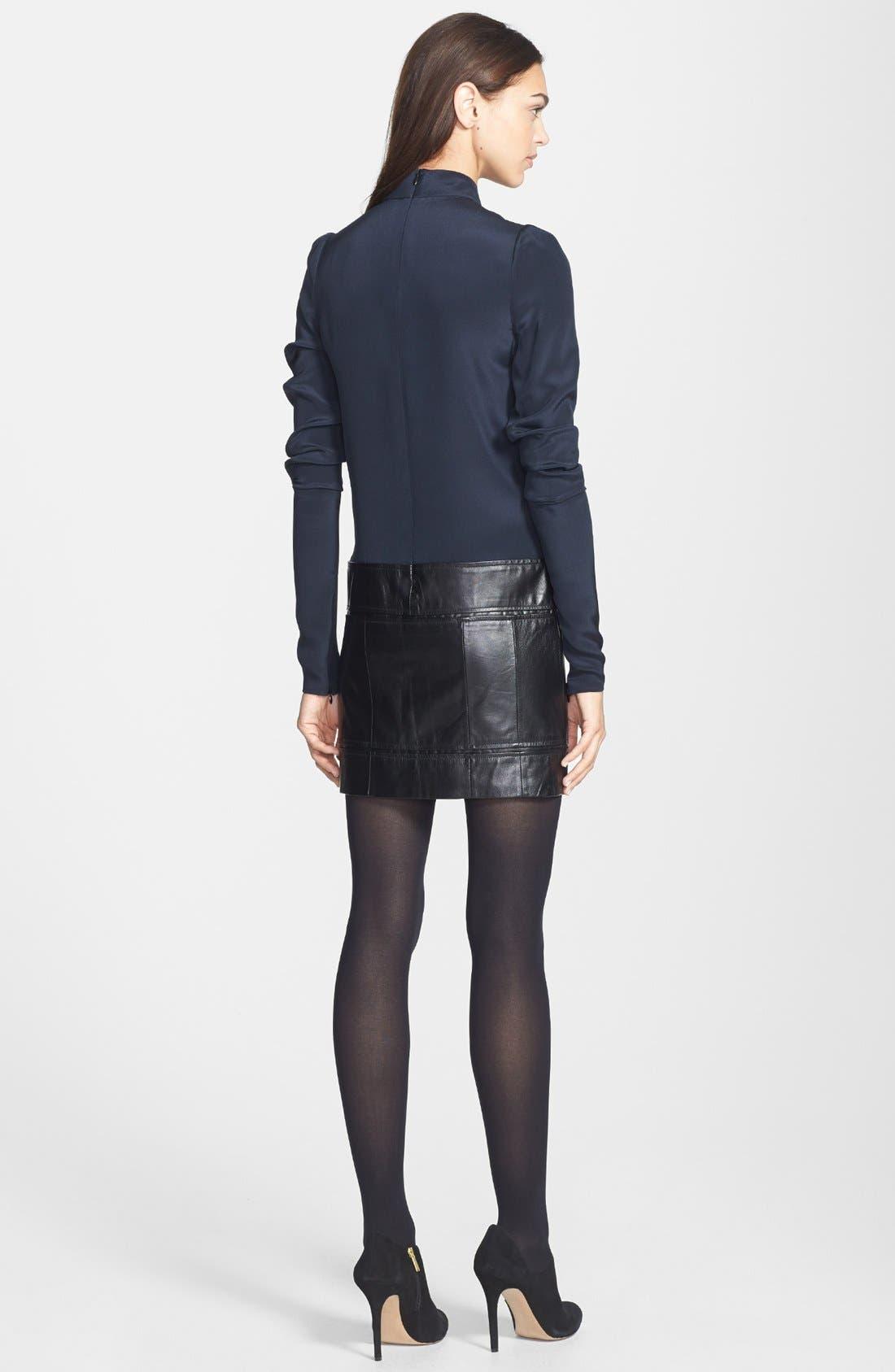 Alternate Image 2  - Theory 'Karlyn' Silk & Leather Shift Dress