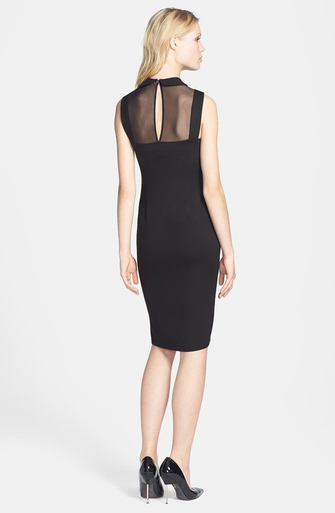 Alternate Image 2  - BB Dakota 'Rhyannon' Sheer Yoke Ponte Sheath Dress