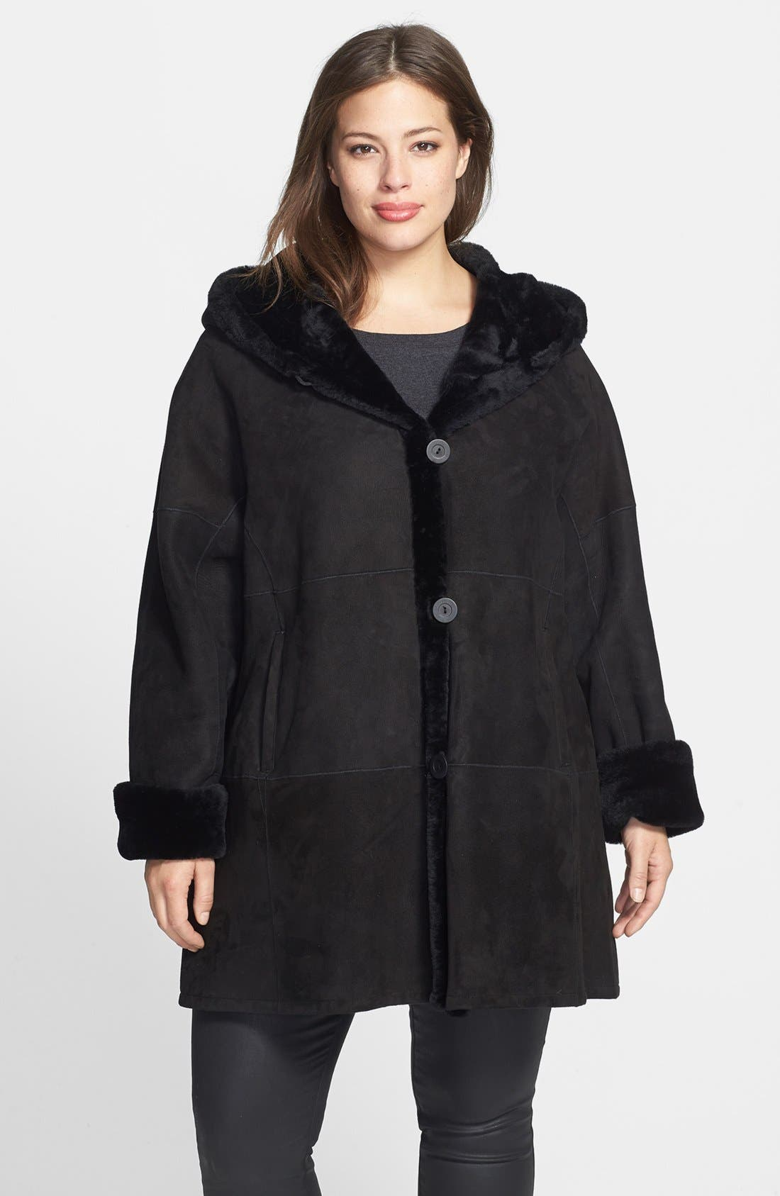 Alternate Image 1 Selected - Blue Duck Genuine Shearling Hooded Coat (Plus Size)