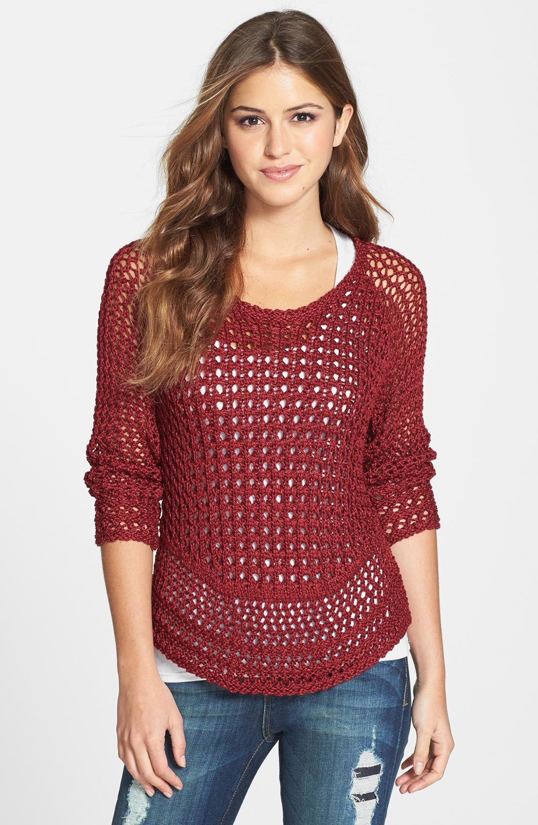 Alternate Image 1 Selected - Lucky Brand 'Marissa' Metallic Sweater
