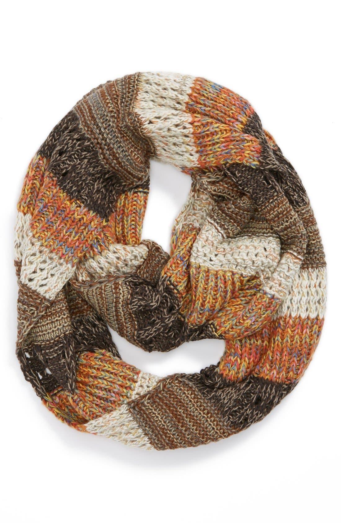 Main Image - BP. Stripe Mixed Knit Infinity Scarf (Juniors)
