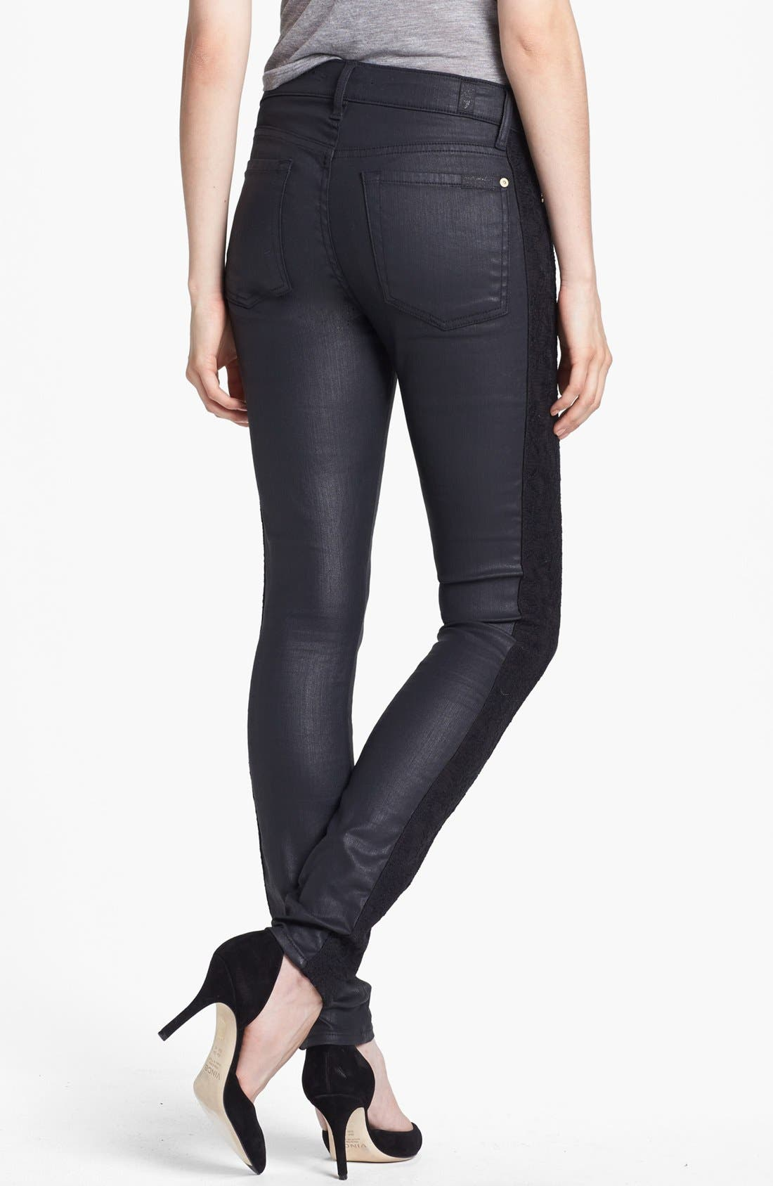Alternate Image 2  - 7 For All Mankind® Lace Panel Pieced Coated Skinny Jeans (Black)