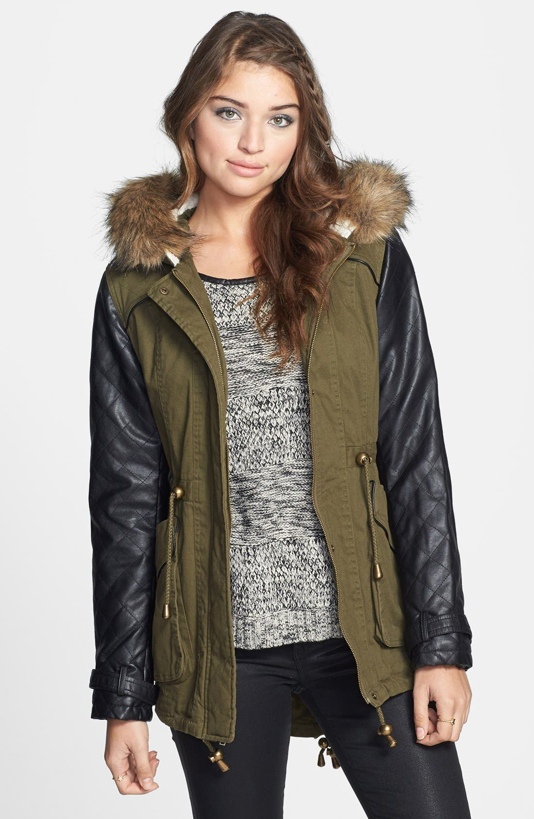 Main Image - Pink Envelope Quilted Faux Leather Sleeve Jacket (Juniors) (Online Only)