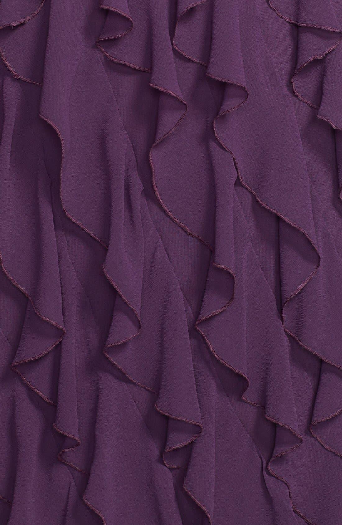 Alternate Image 3  - Ivy & Blu V-Neck Ruffled Skirt Chiffon Dress (Plus Size)