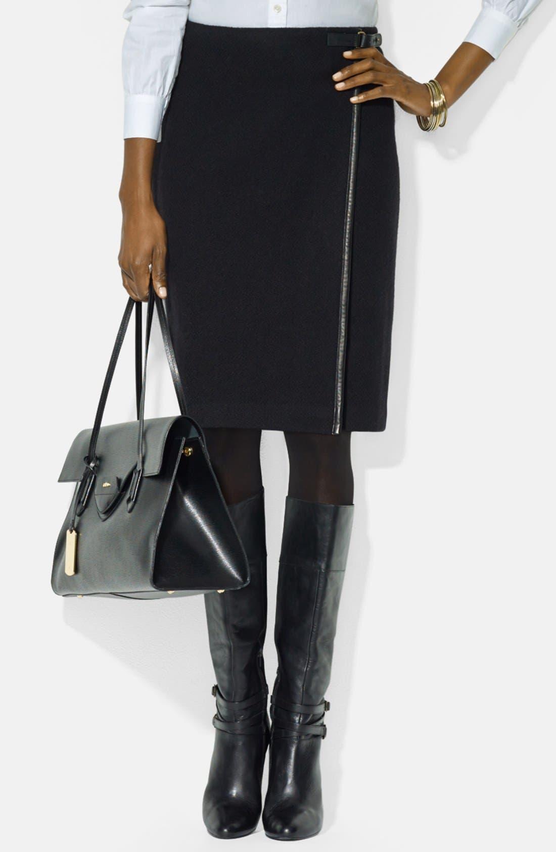 Main Image - Lauren Ralph Lauren Leather Trim Pencil Skirt (Petite)
