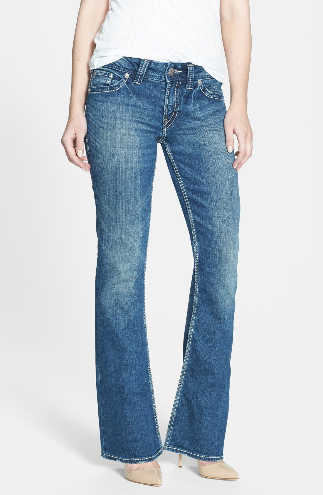 Alternate Image 1 Selected - Silver Jeans Co. 'Suki' Stretch Bootcut Jeans (Indigo)