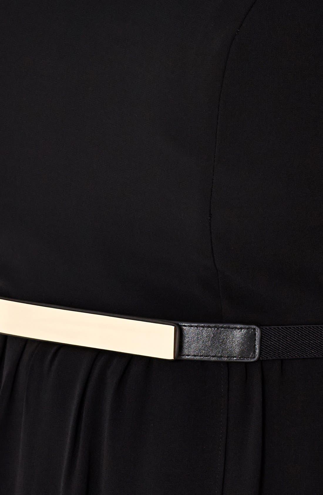 Alternate Image 3  - City Chic Lace Trim High/Low Chiffon Overlay Dress (Plus Size)